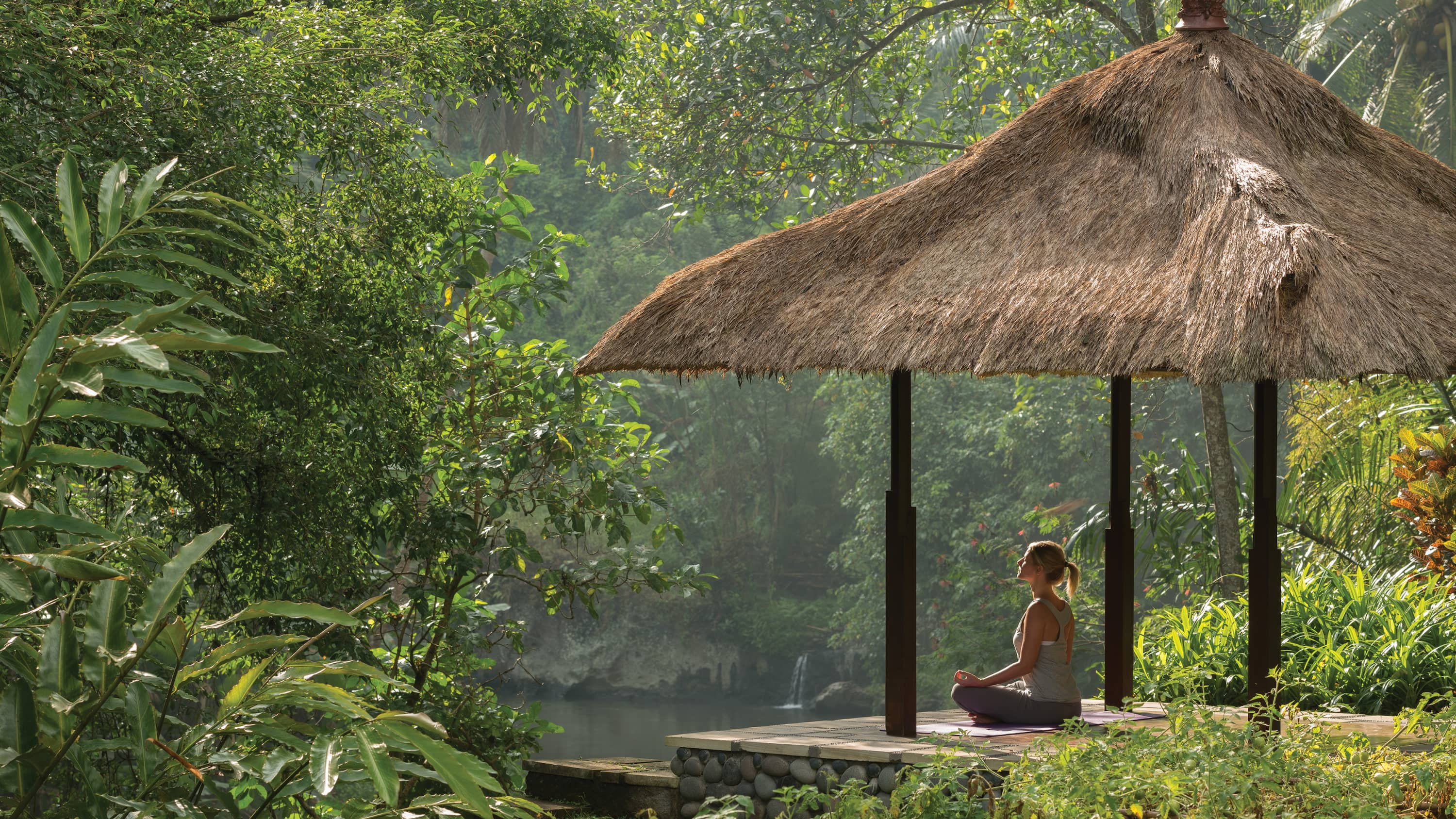Women meditating in Bali