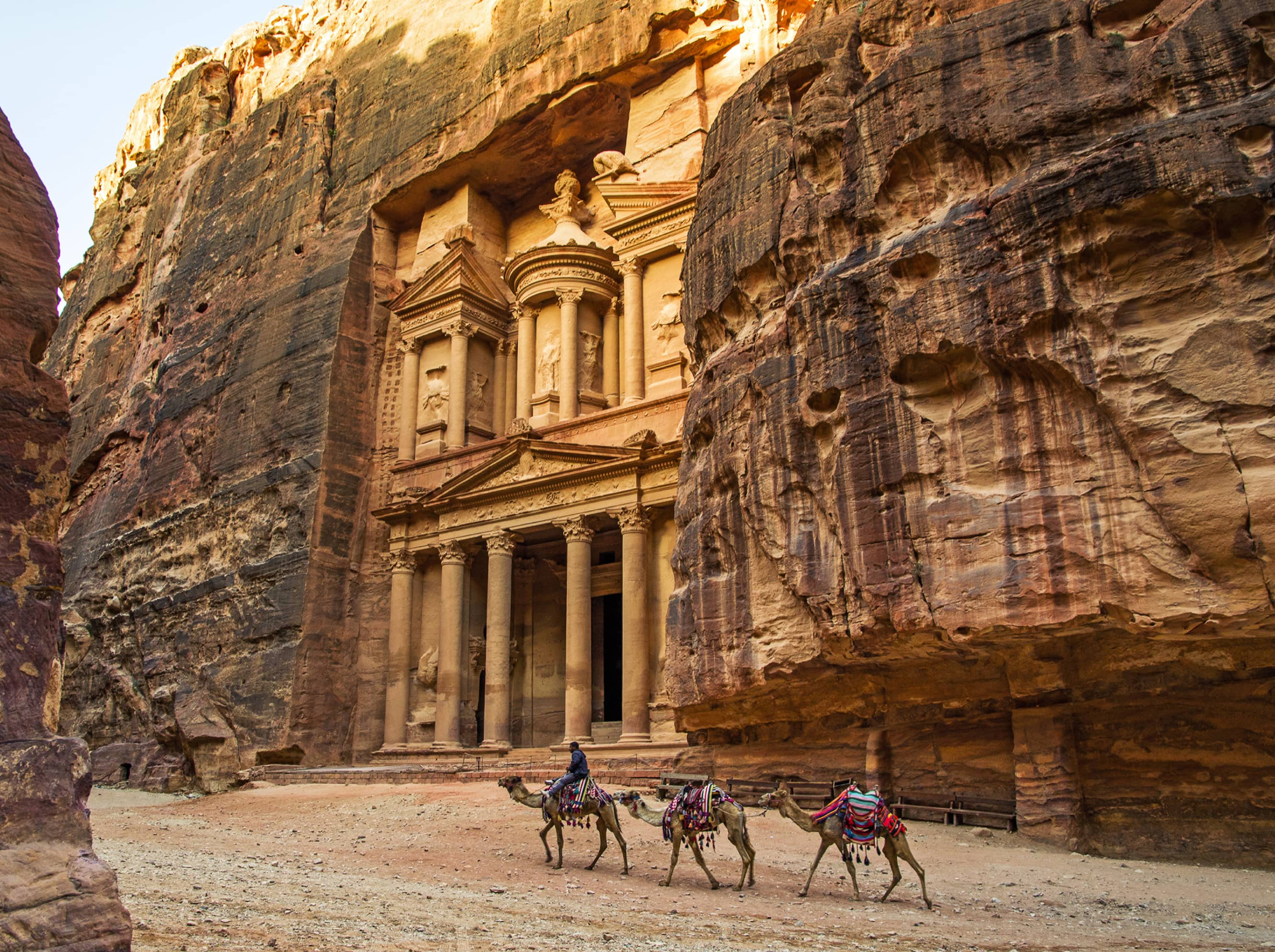 Marvel at the ancient, rock-hewn city of Petra.