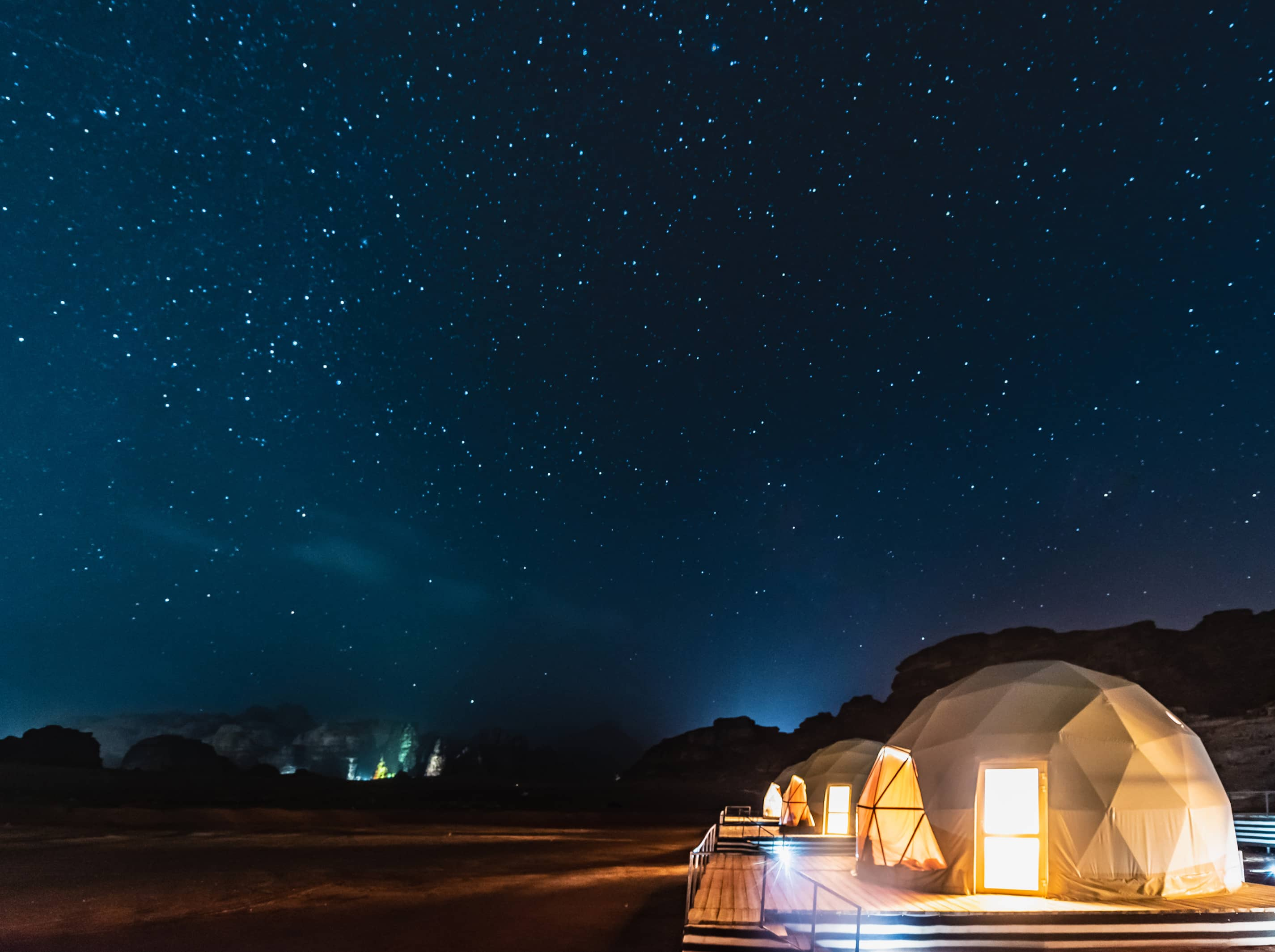 Stay at a luxury desert camp in spectacular Wadi Rum.