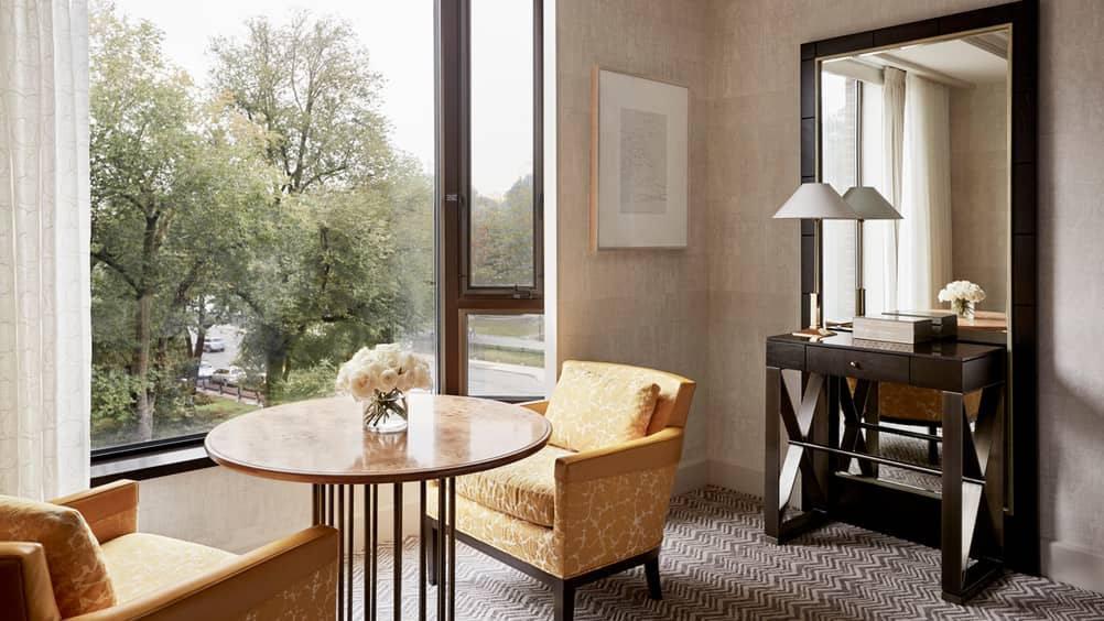 Built around the luxury of space the reimagined rooms are tranquil and open emphasizing the gorgeous views through carefully refreshed window treatments