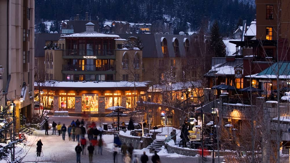 Located At The Base Of Both Whistler And Blackcomb Mountains Village Draws Pedestrians To Explore S Restaurants Bars Playgrounds