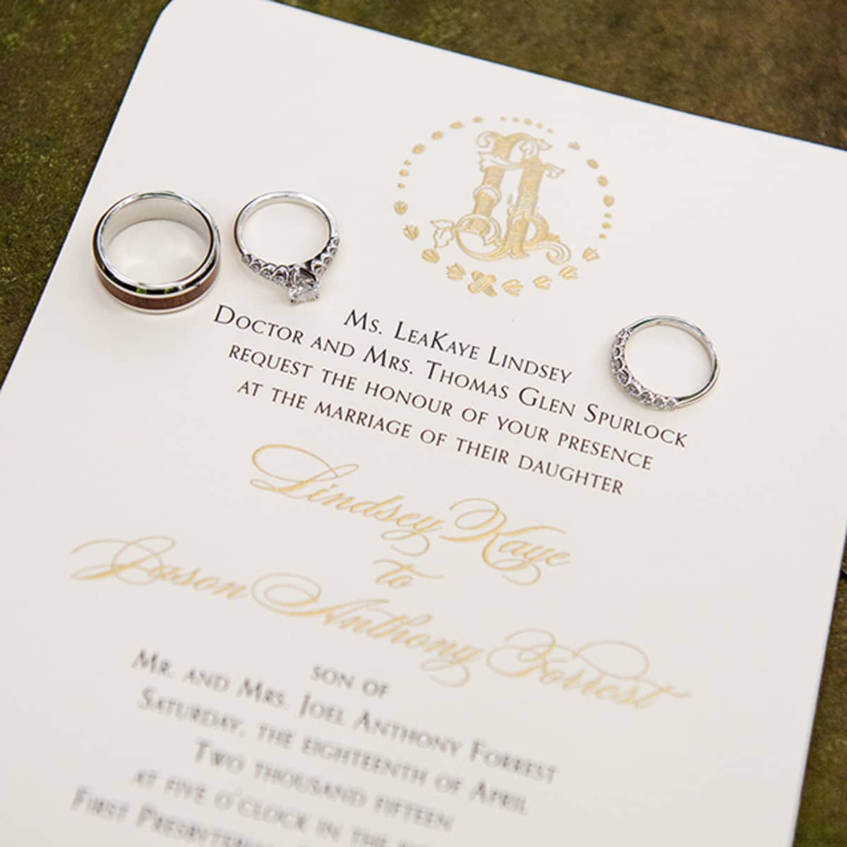 Invitations Feature An Engraved Duogram Custom Created For The Couple.