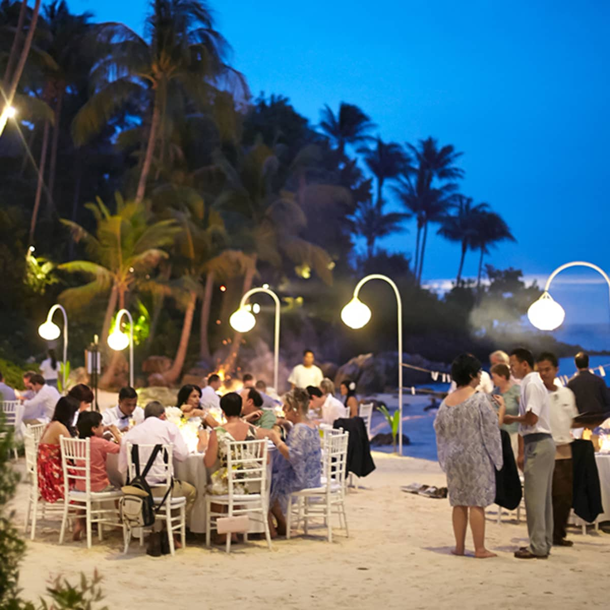 For The Reception At Dusk White Lanterns And Purple Lighting Create A Magical Atmosphere