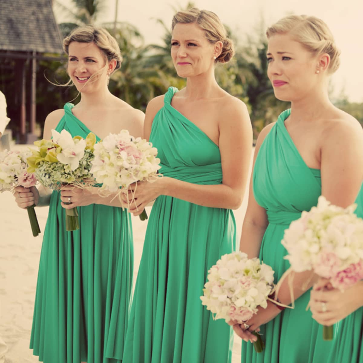 Tropical bridesmaid dress choice image braidsmaid dress a wedding in paradise the bridesmaids wear green dresses and carry tropical blooms ombrellifo choice image ombrellifo Gallery