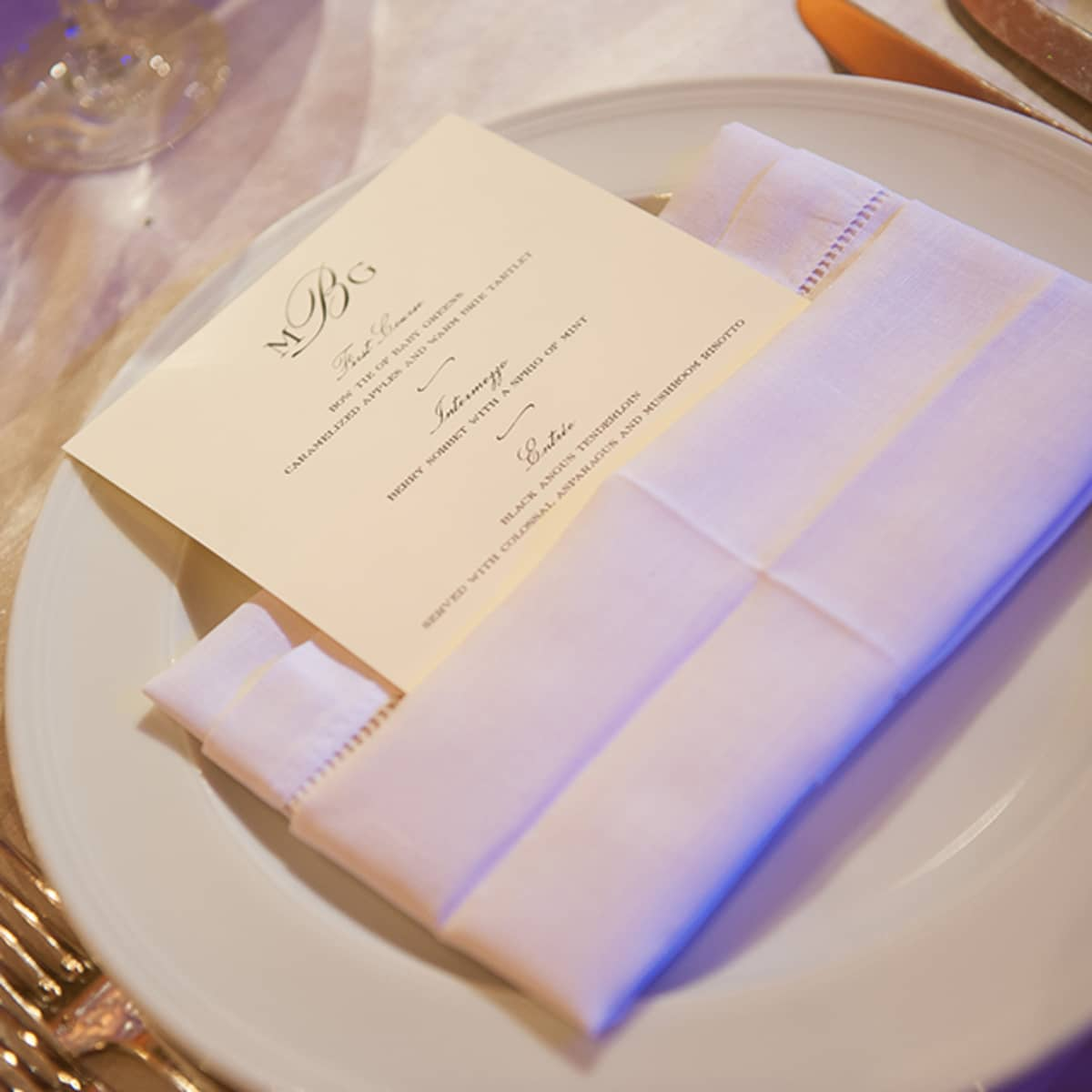 Calligraphed Menus Are Presented In Clever Napkin Pockets