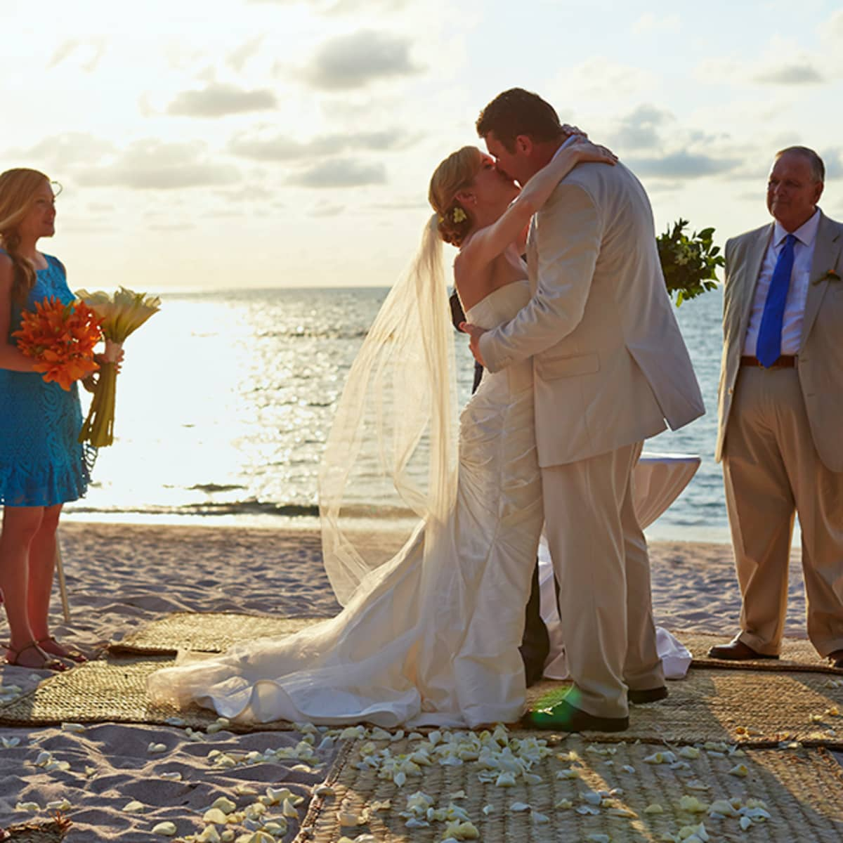 Christine And Nick Share Their First Kiss As Husband Wife Against The Beautiful Backdrop Of