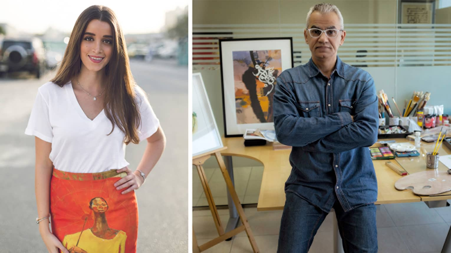 Side-by-side photos of designer Zena Presley and calligraphy artist Khalid Shahin