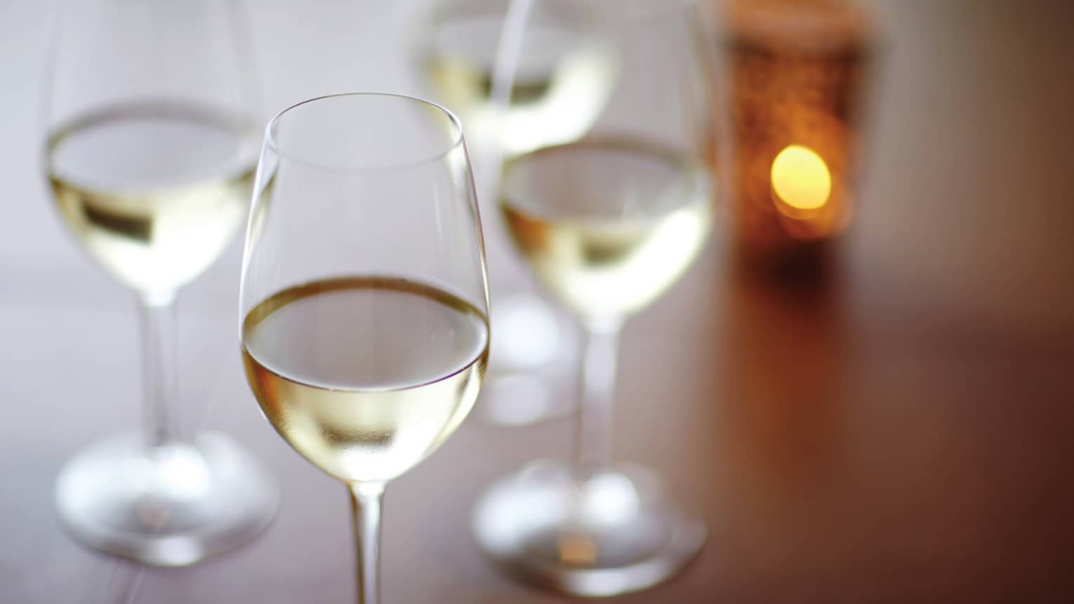 Rows of white wine glasses on table