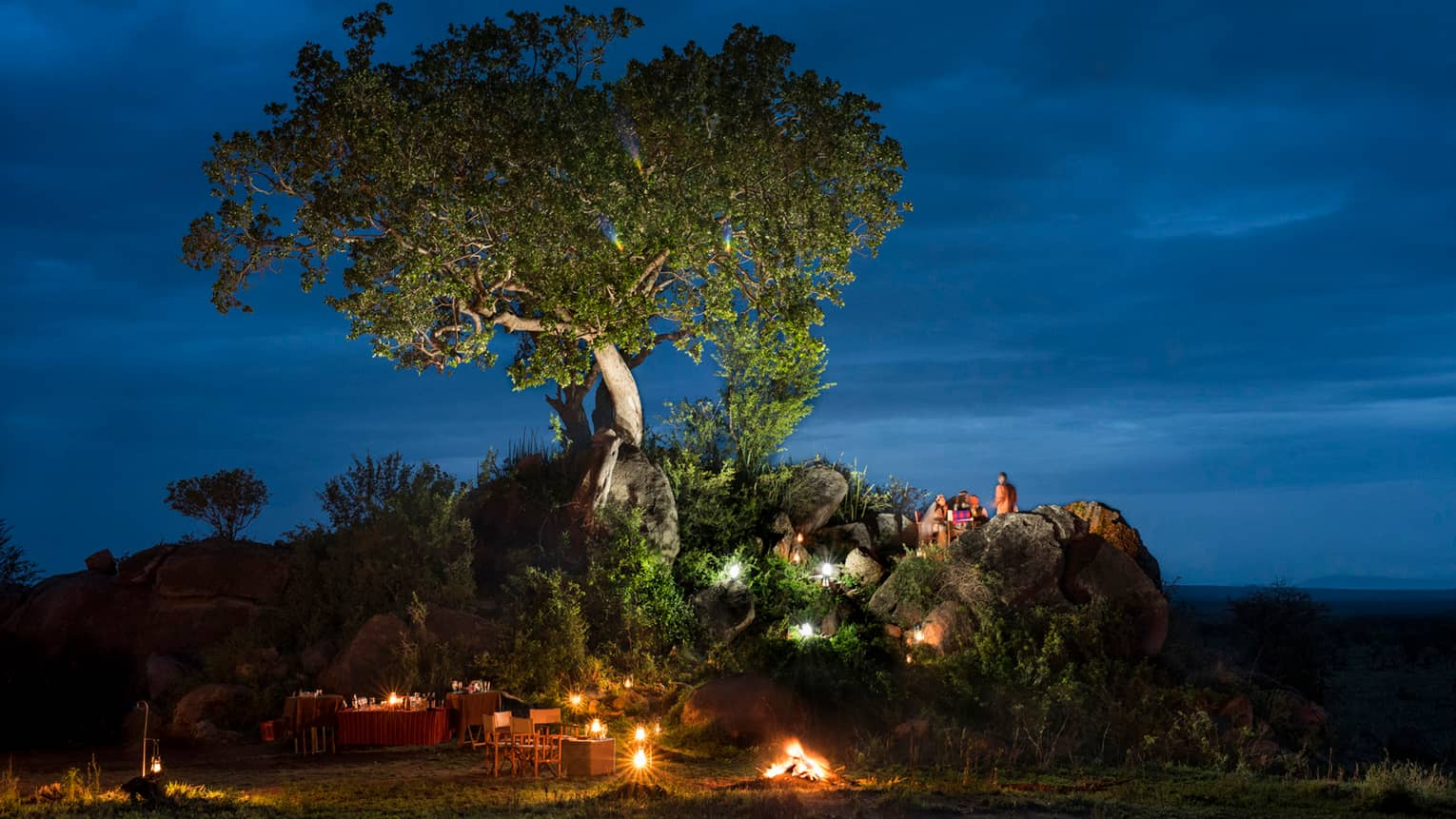 Bride and groom sit on large rock under tree, over candle-lit dining tables at night