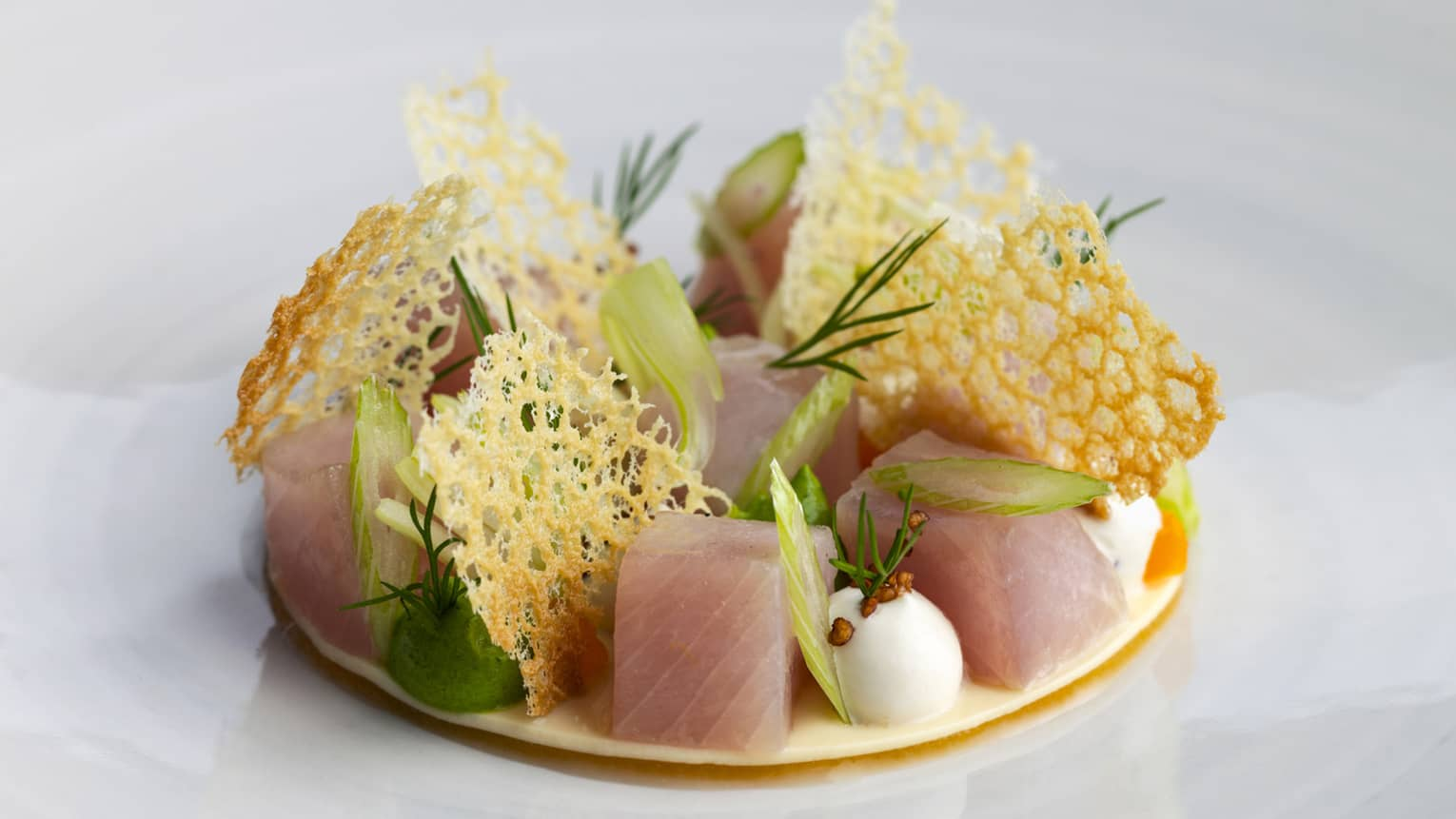 Sashimi cubes and garnishes on round plate