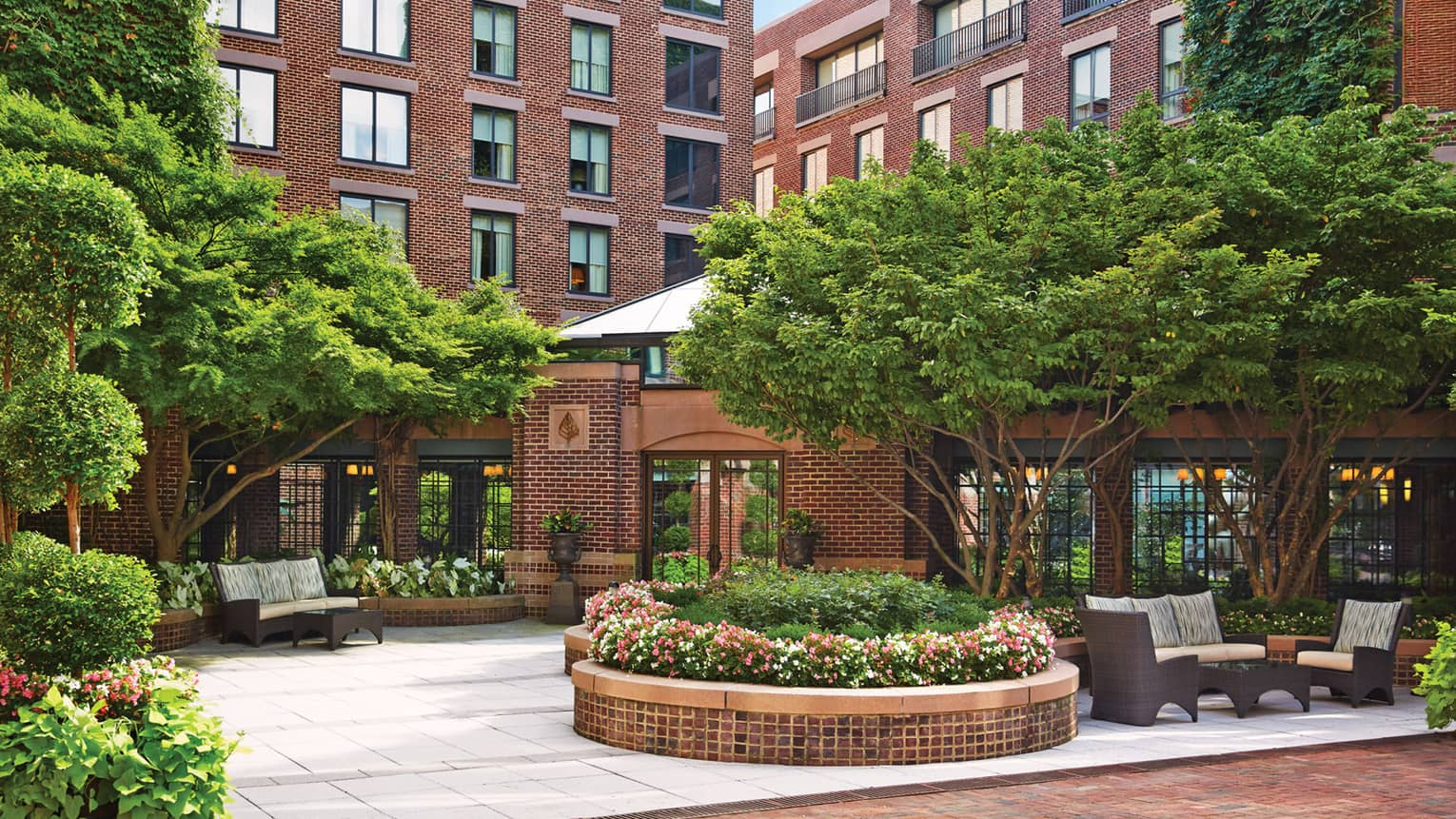 Four Seasons Hotel Washington DC brick exterior, garden courtyard