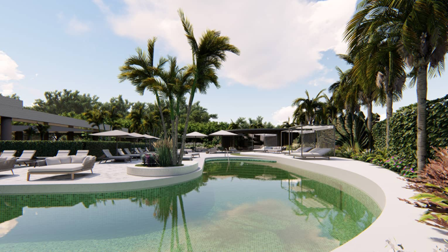 Rendering of outdoor pool surrounded by white lounge chairs and palm trees