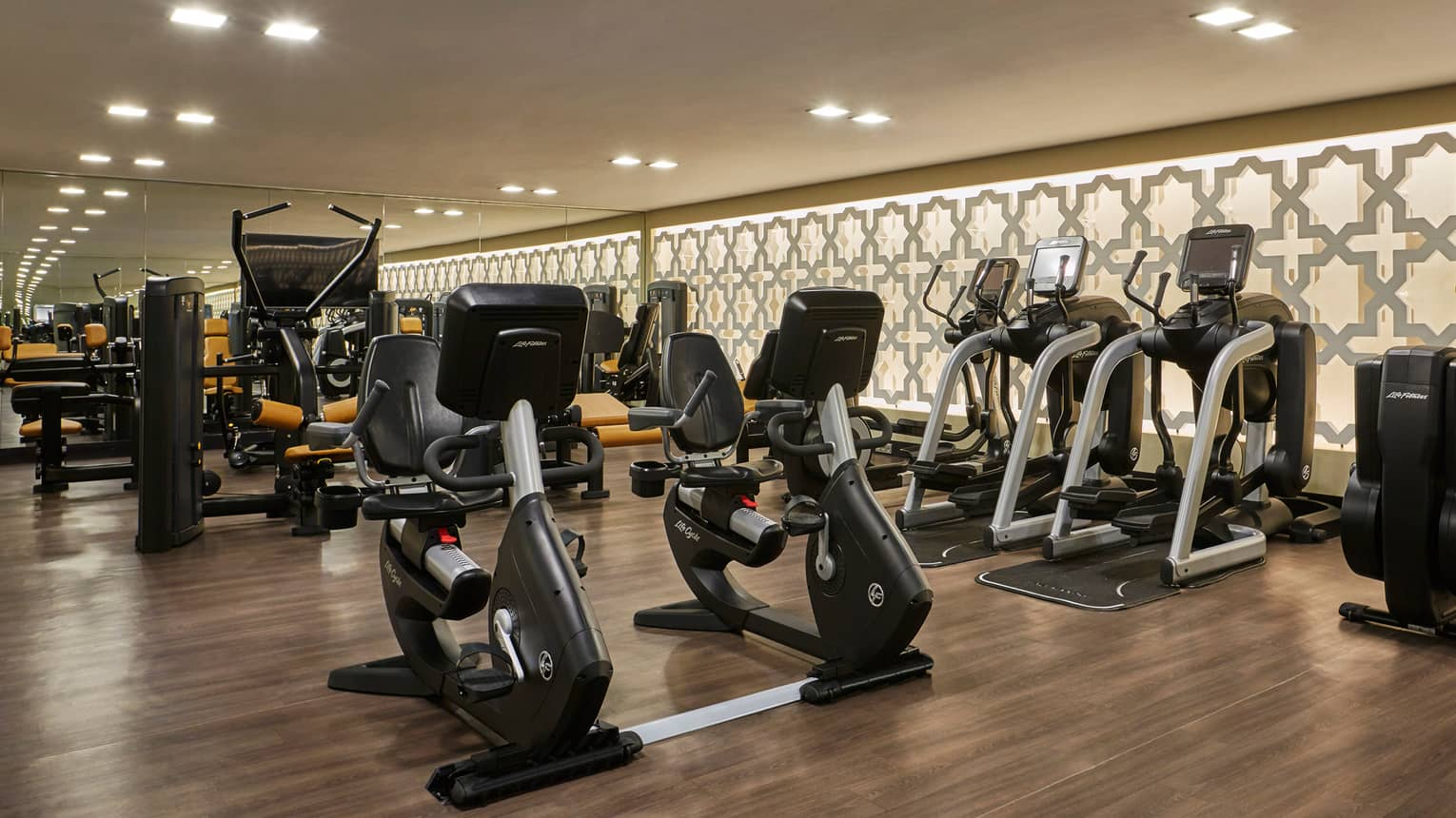 Rows of cardio machines in dimly-lit fitness room with wood floors