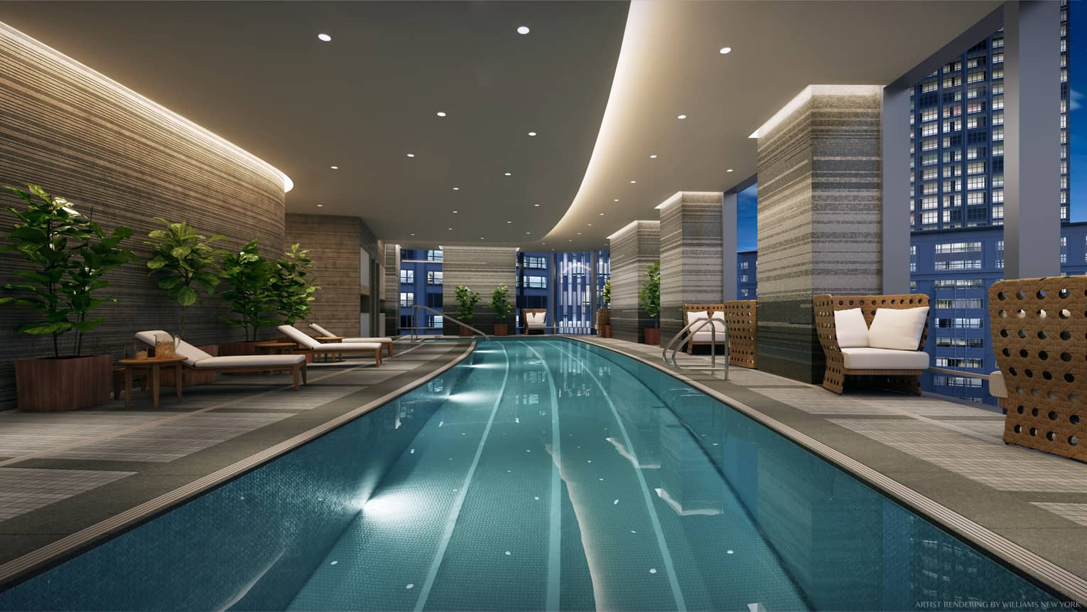 One Dalton Street, Boston long indoor swimming pool under accent, pot lights, chairs by window with city lights views