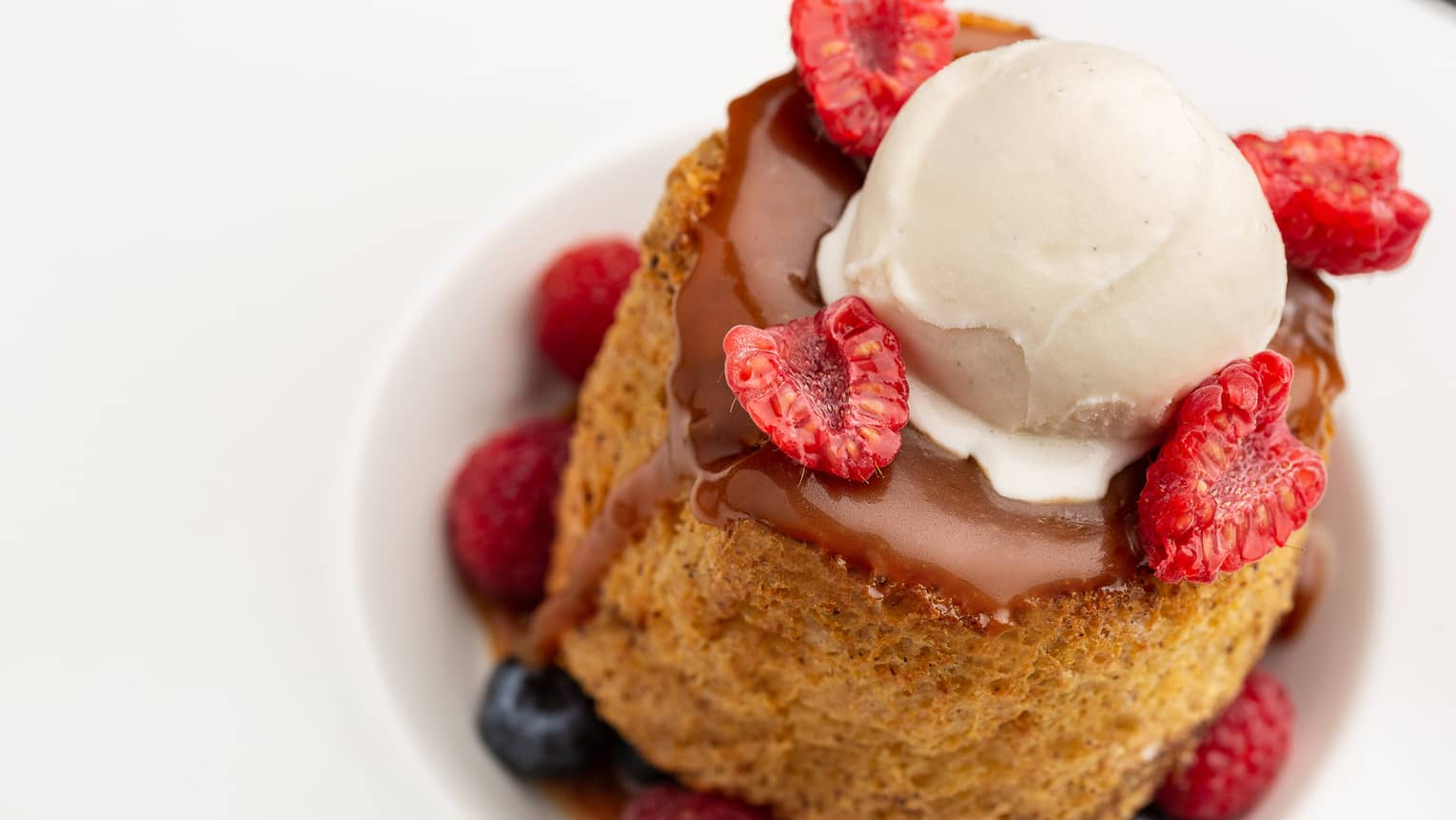 French toast with arabica coffee, mixed berries and vanilla ice cream