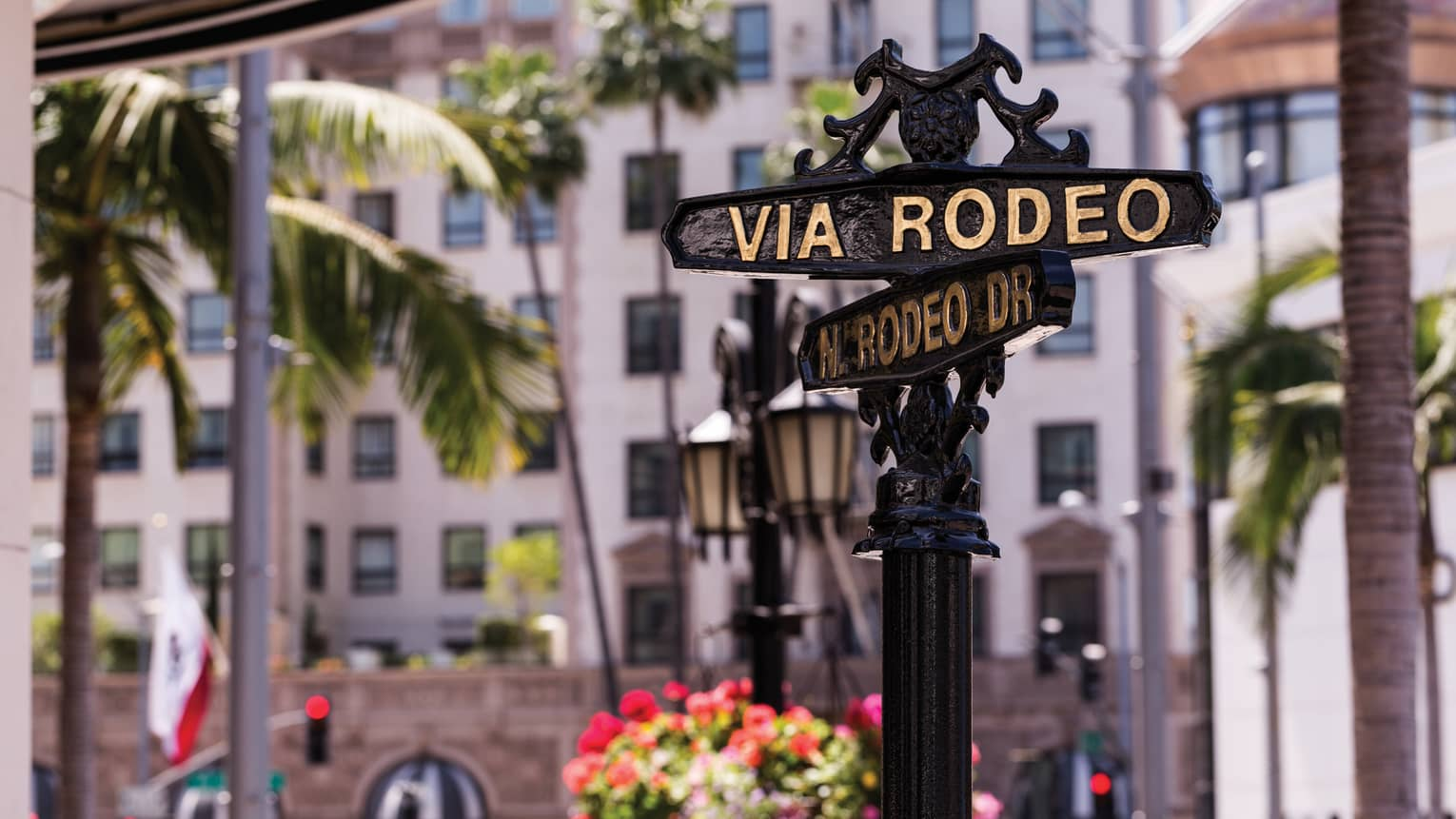Wrought iron post with Rodeo Drive street signs, palm trees and flowers in background