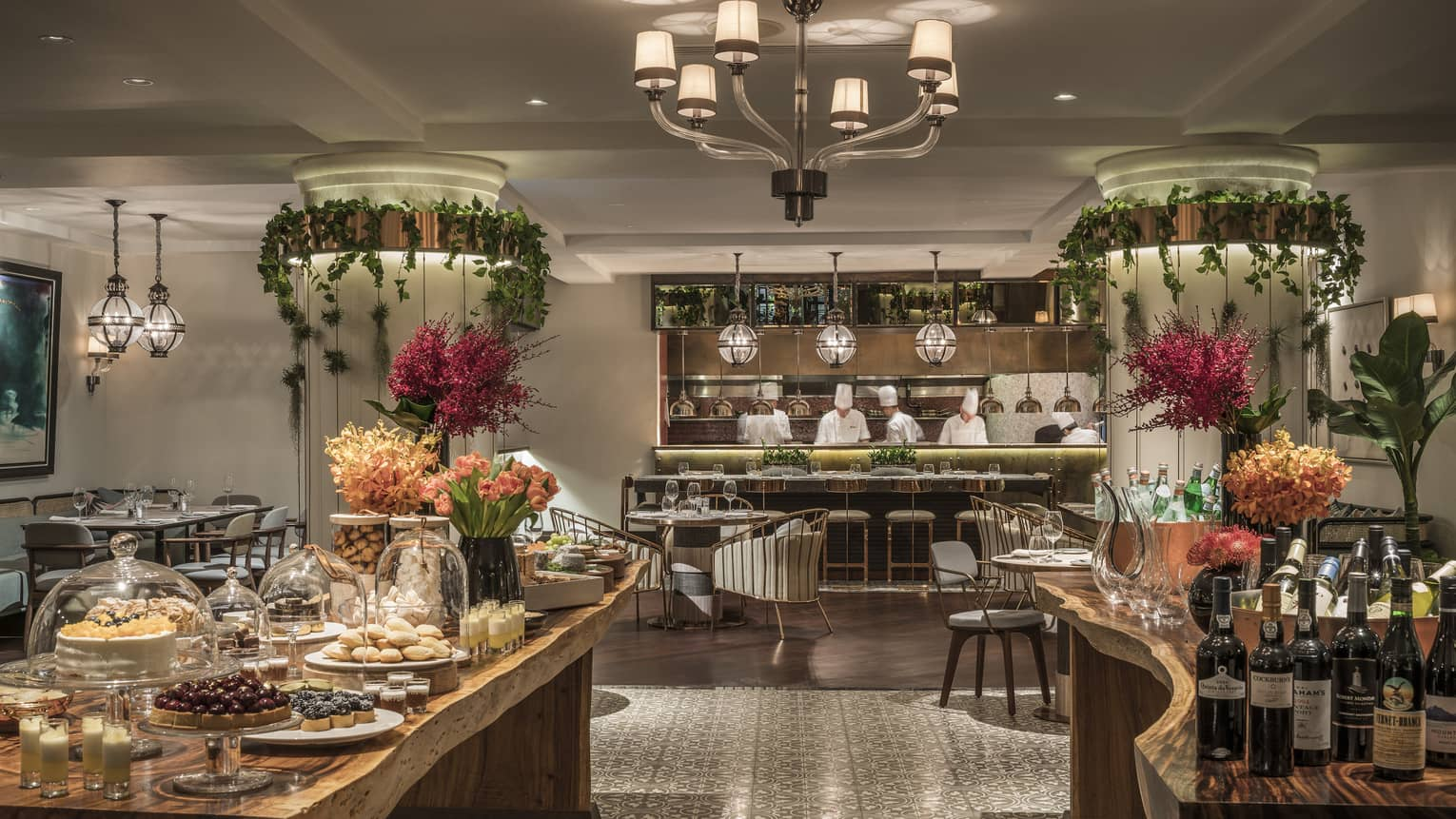 The One Ninety Restaurant, a lush, botanical-inspired modern Asian brasserie serving wine and assorted pastries