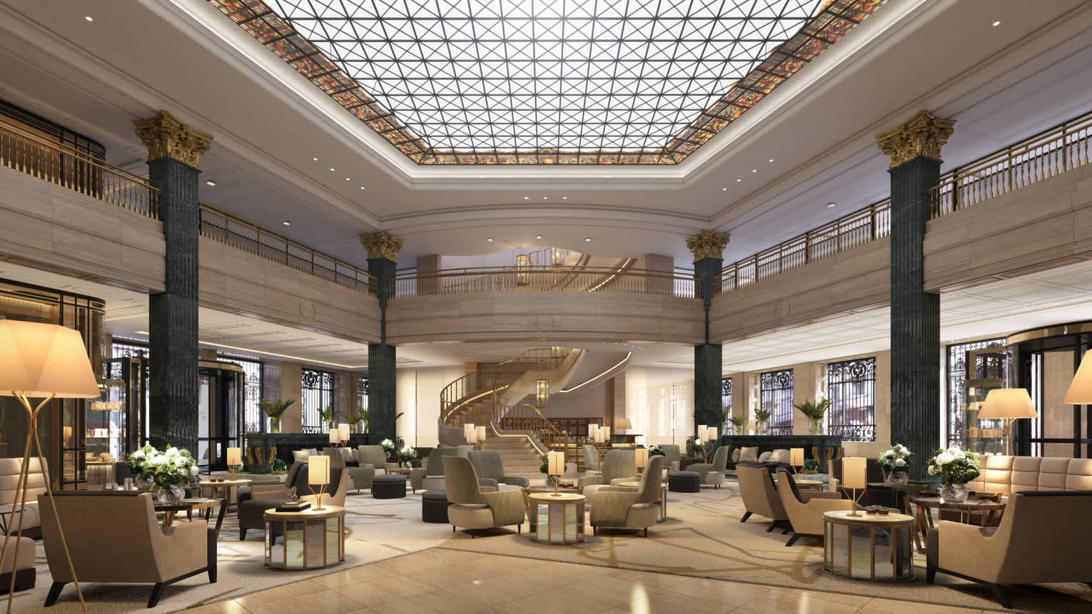 Four seasons hotel madrid's lobby is lit up by a large panel of skylights, and full of modern, chic sitting areas