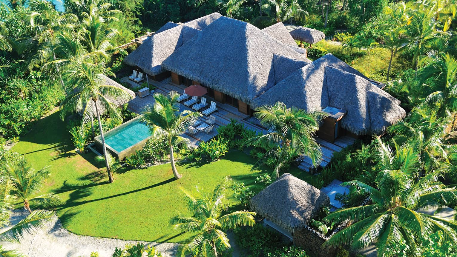 Aerial view of three-bedroom beach villa with thatched roof, private pool, green lawn, palms