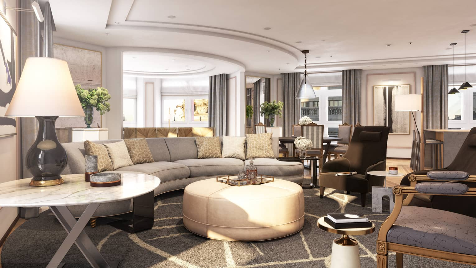Four Seasons hotel madrid's presidential suite is modern and neutral with a gray and white geometric rug, cream couch and coffee table, darkk gray chairs, gray curtains and light pouring in the floor to ceiling window