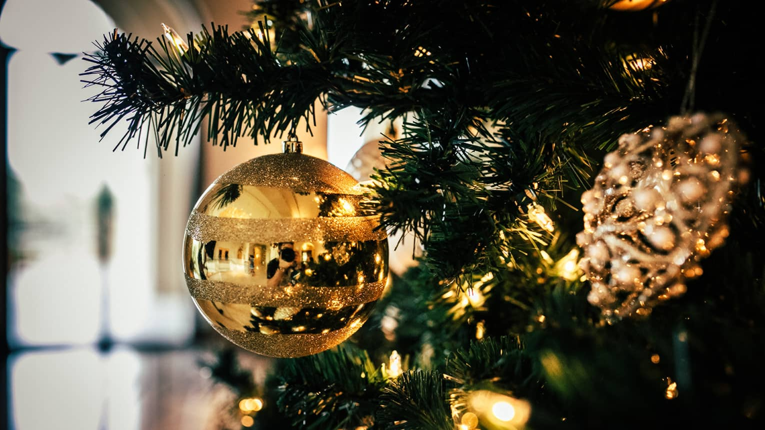A close up of a gold, reflective ornament on a christmas tree