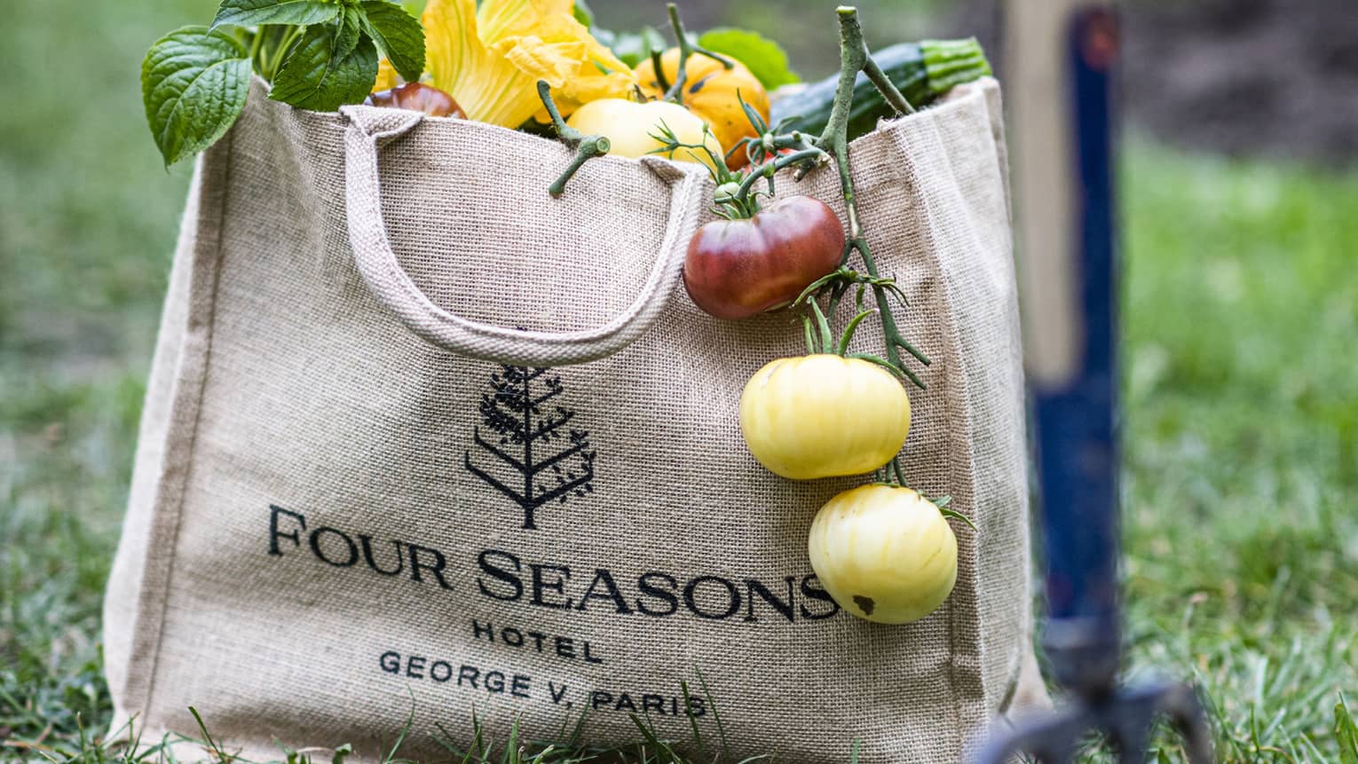 vegetables hang out of a burlap four seasons bag as it sits on the ground