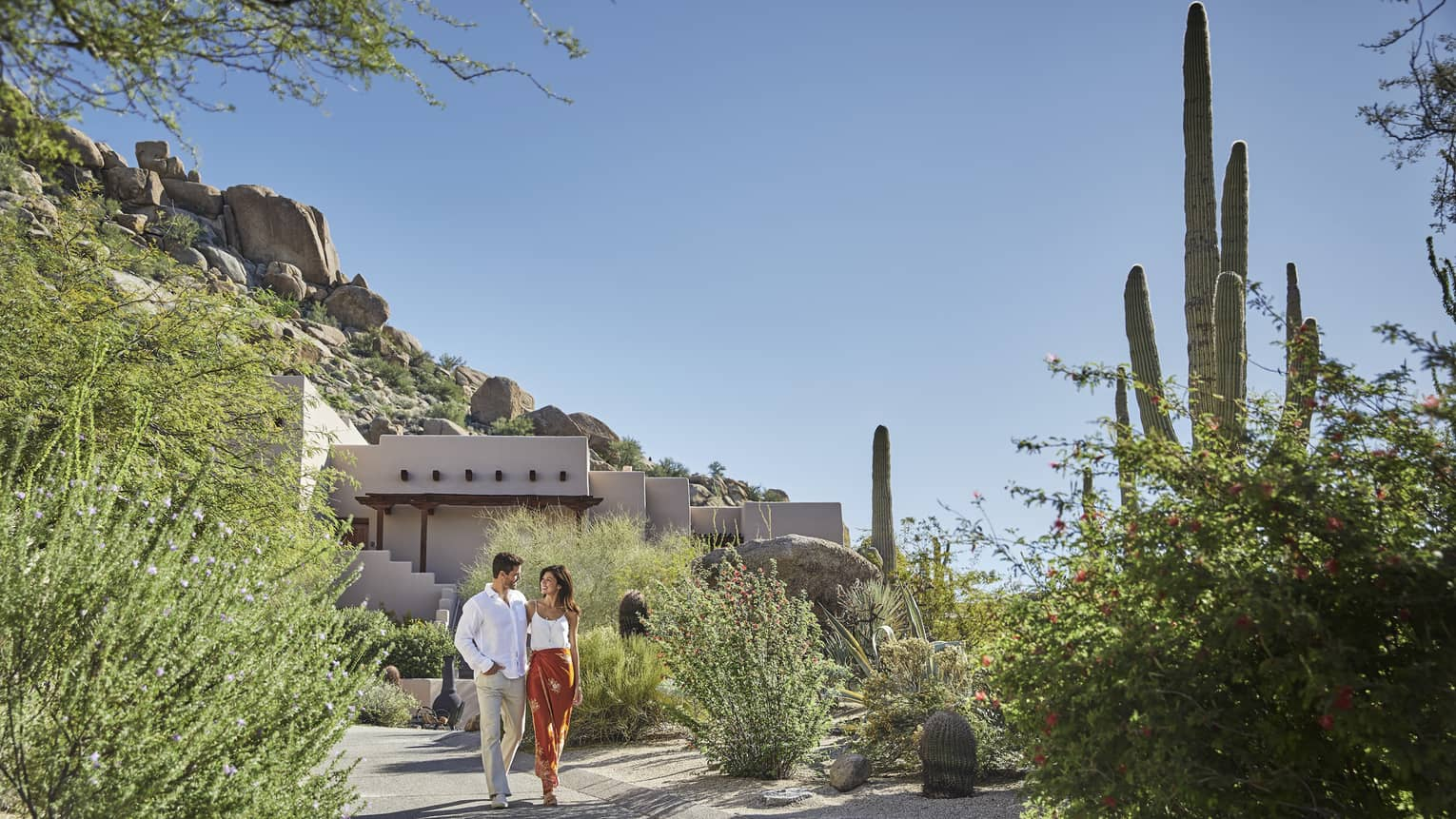 Couple walk along sunny desert garden path near tall cactus plants