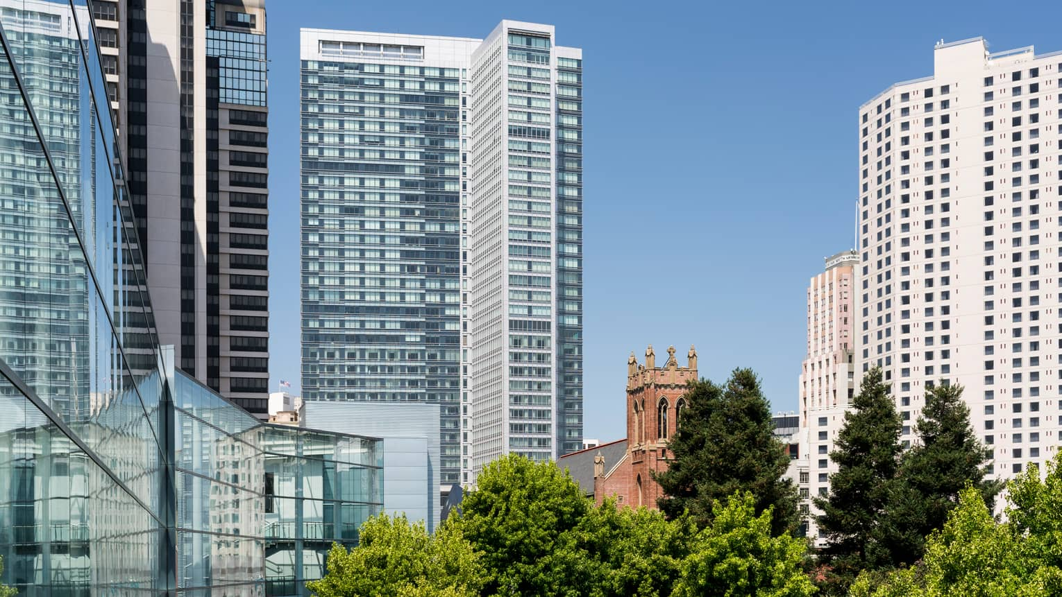 Outdoor view of tall buildings in San Francisco's Yerba Buena neighbourhood on sunny day