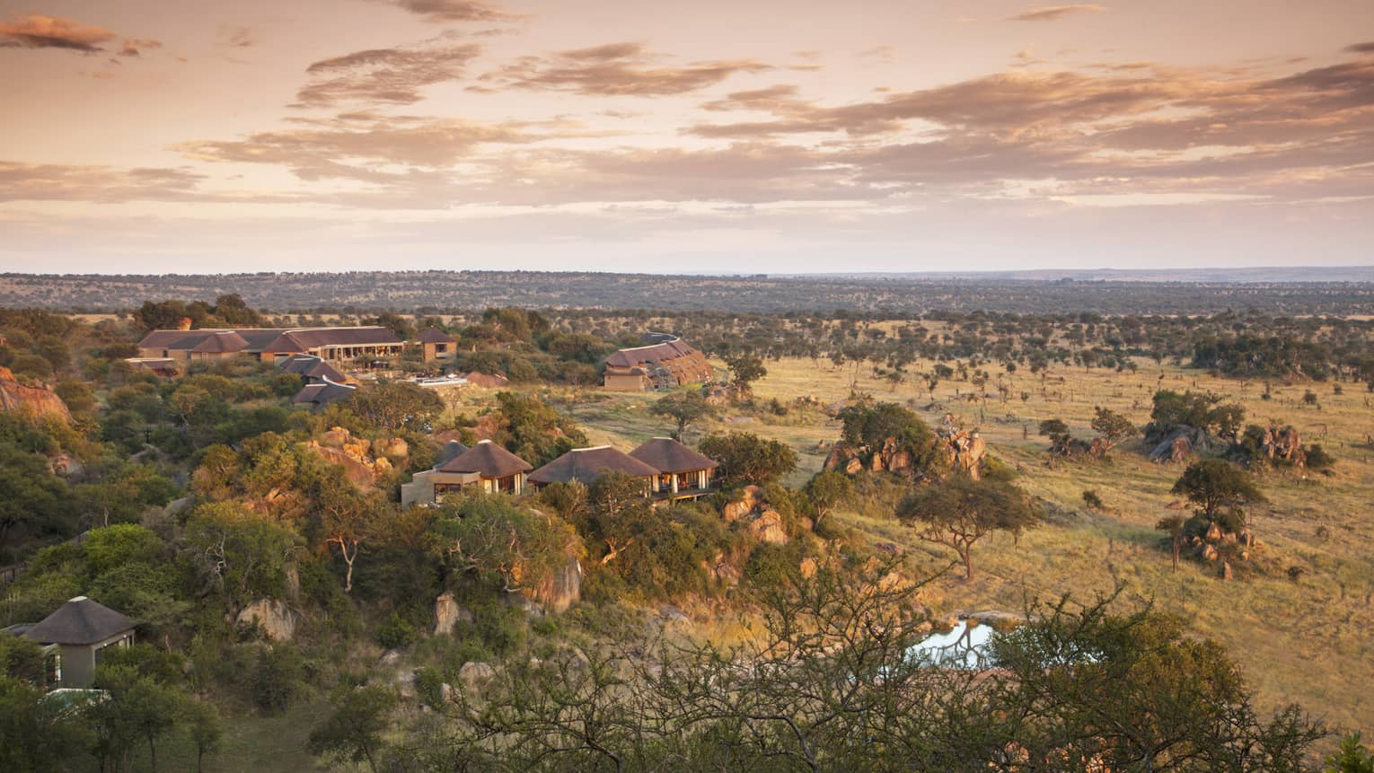 Sunset over villas, plains at Four Seasons Safari Lodge Serengeti