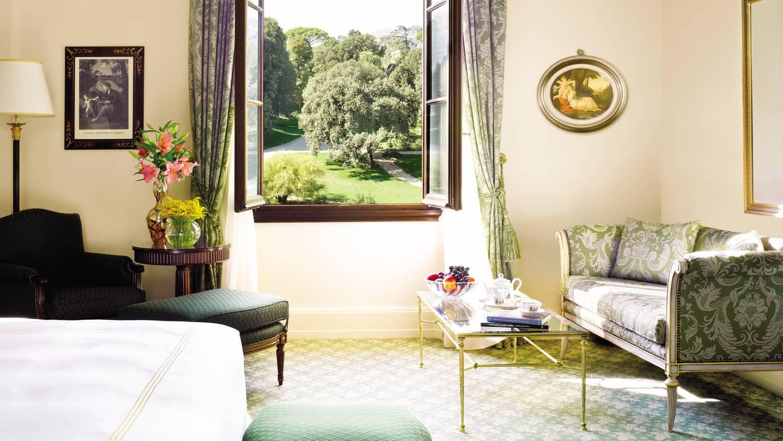 Four Seasons Room Silk Sofa, Armchair, Table Under Large Open Window  Overlooking Gardens