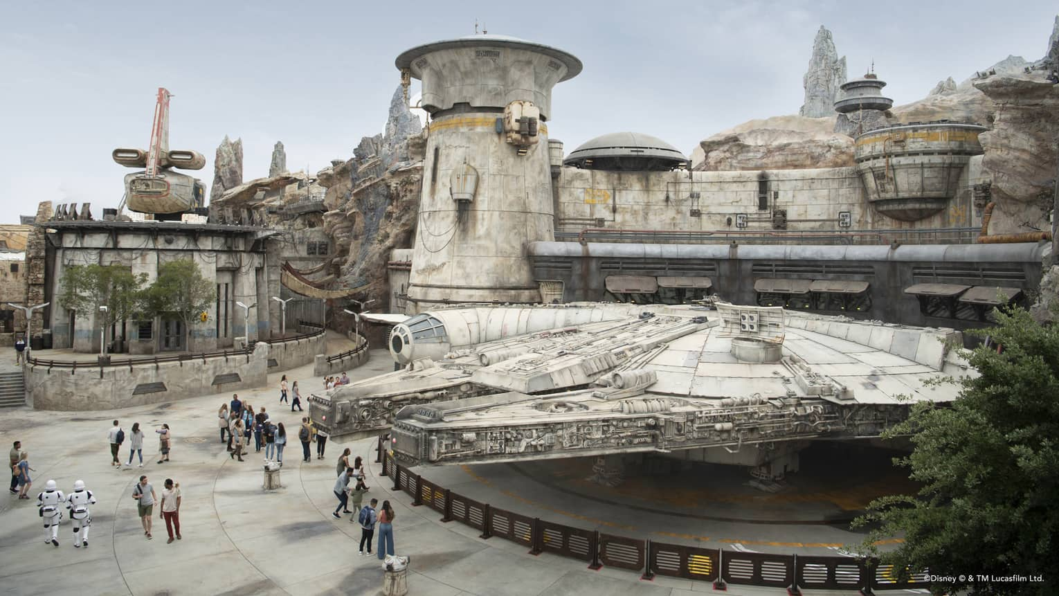 a replication of the Millennium Falcon at Star Wars Galaxy's Edge