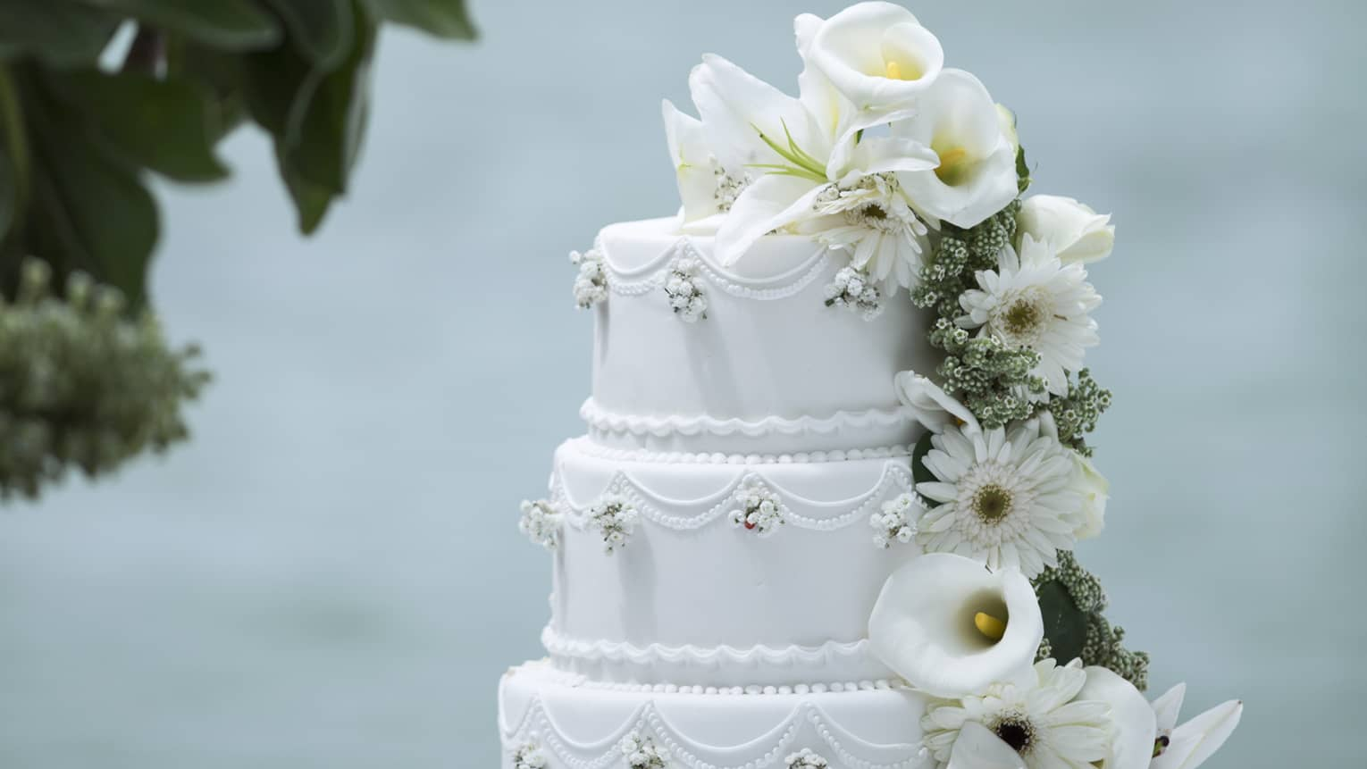 Three tiered wedding cake decorated with white flowers, daisies