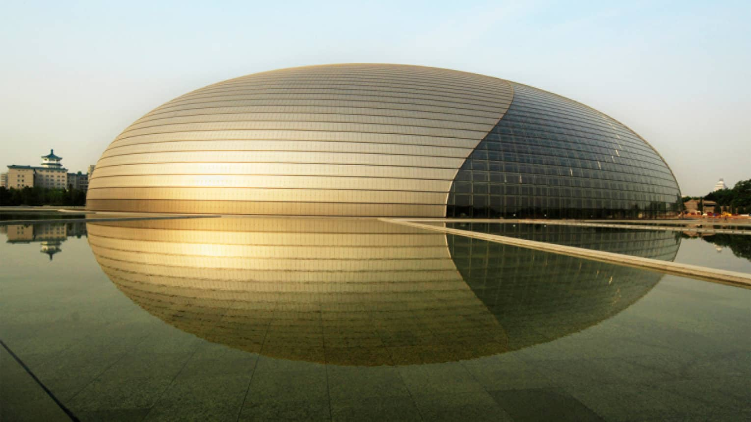 Exterior of Beijing National Centre for the Performing arts gold egg-shaped building