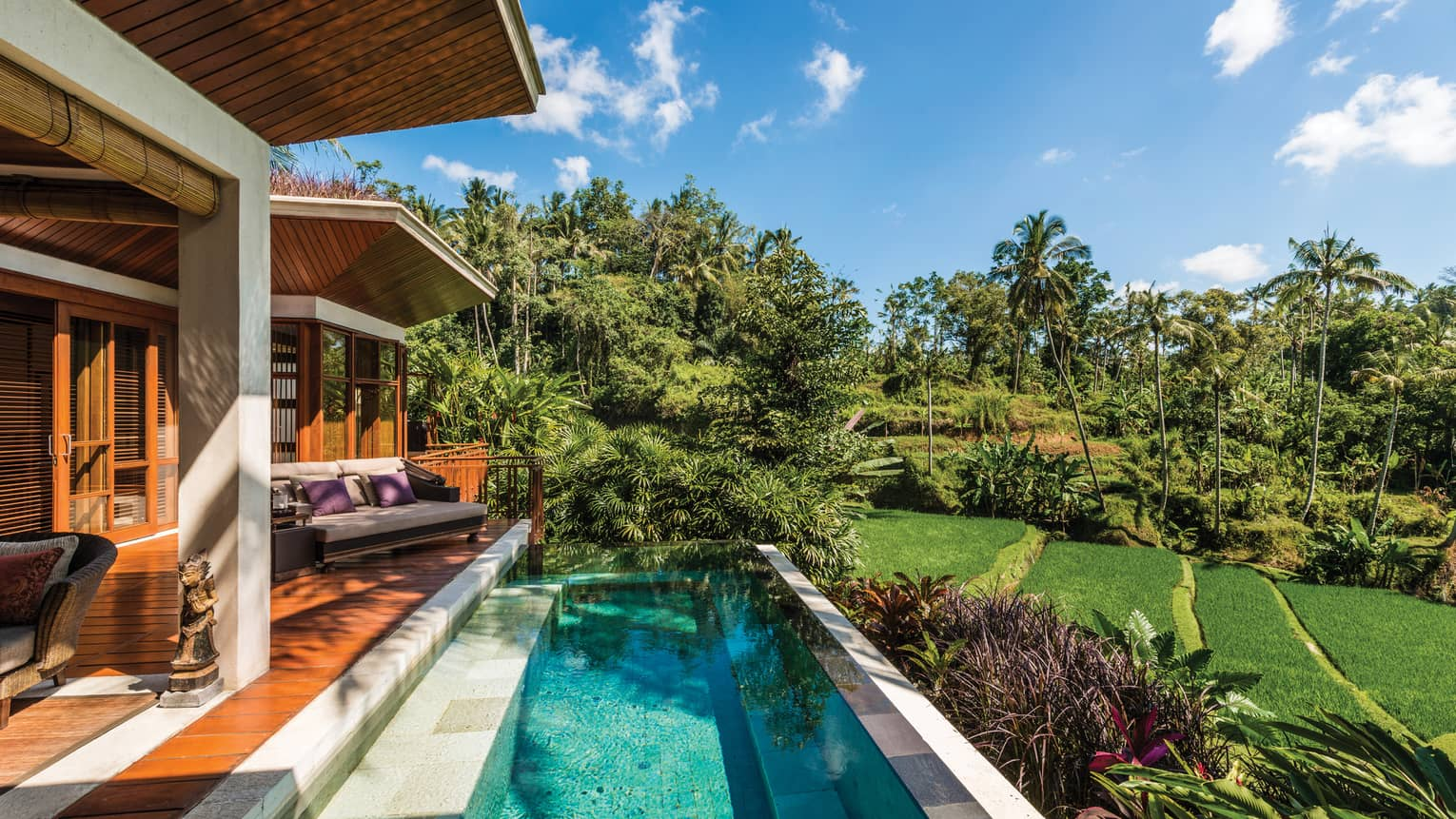 Sunny villa patio with wood deck, plush patio chair, small blue plunge swimming pool, green lawn and garden