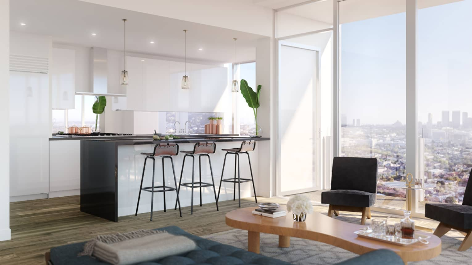 Illustration of full white kitchen, island counter, chiase lounge and black chairs by window