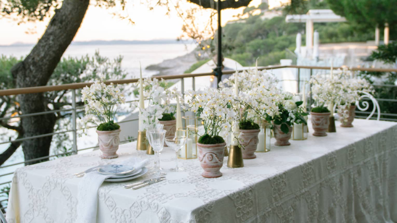 White rectangular dining table lined with potted white flowers, candlesticks one bistro chair on terrace under string lights