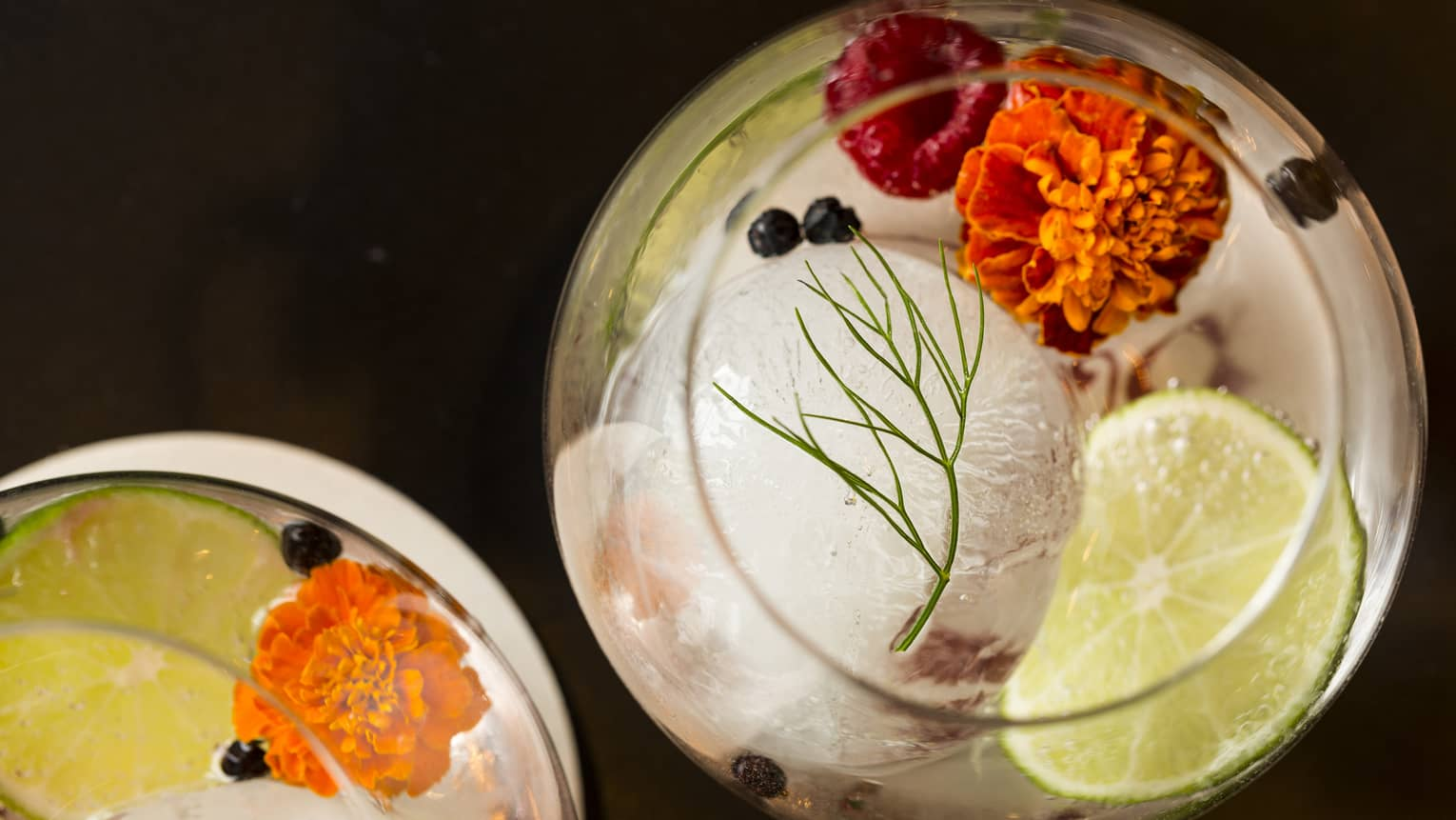 Aerial view of Capa Gin Tonic cocktails in glasses with ice, edible flowers, raspberries, lime