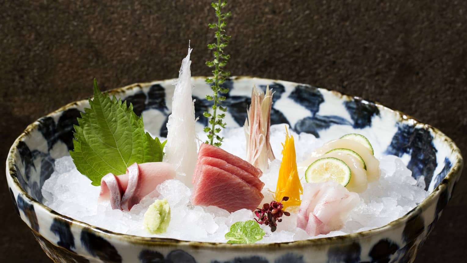 Sashimi Platter from Zuma, served in an blue and white bowl