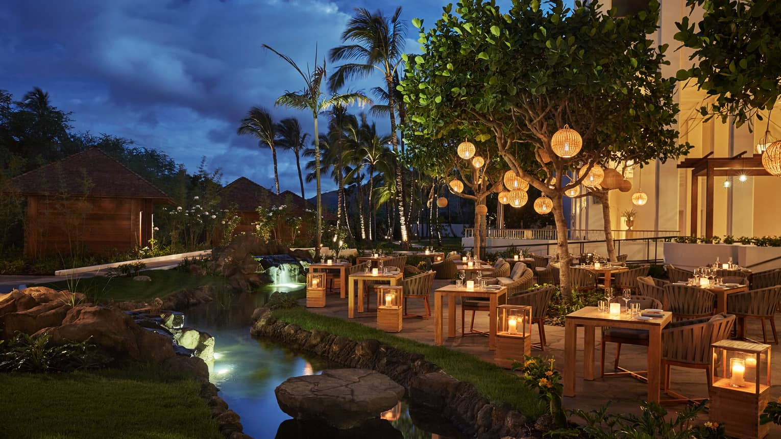 Noe Patio Dining Tables Chairs Lanterns By Stream At Night