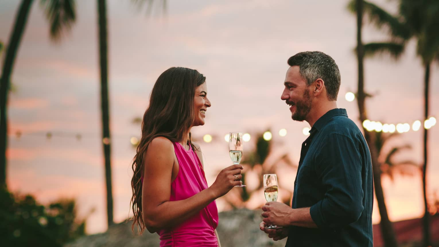 A couple enjoys some glasses of wine on the beach under the palm trees