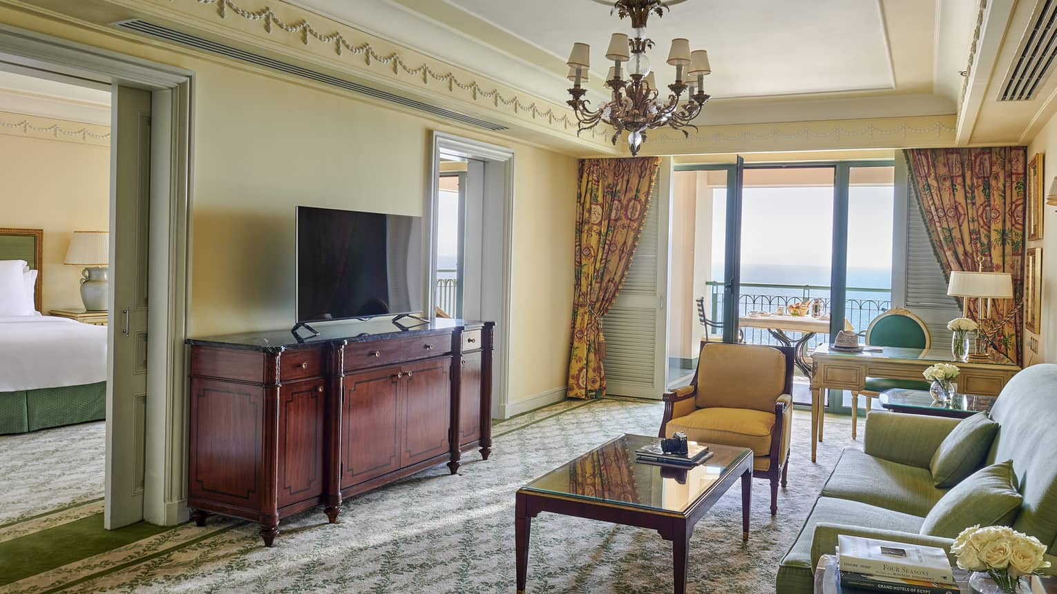 The lounge area in the sea view suite at four seasons hotel alexandria