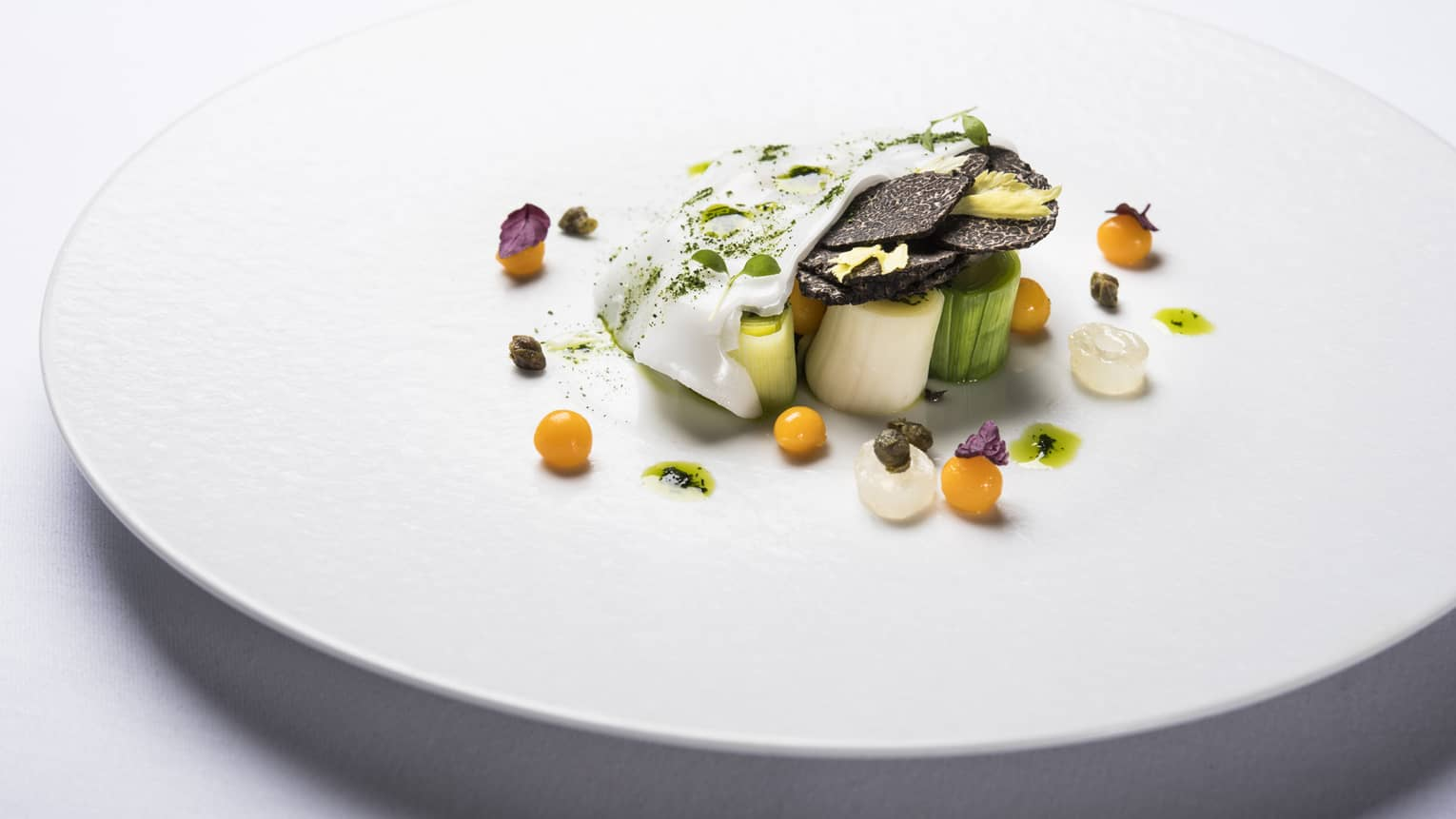 Artistic Michelin-Star entree arranged on white plate