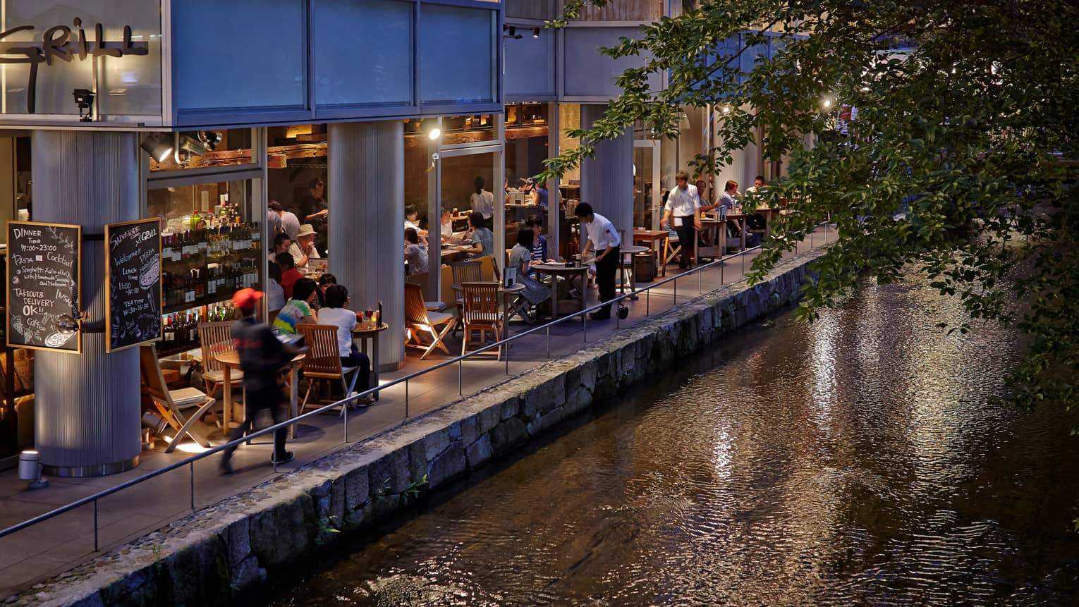 Downtown Kyoto shops, patios at night along Kamo-gawa River