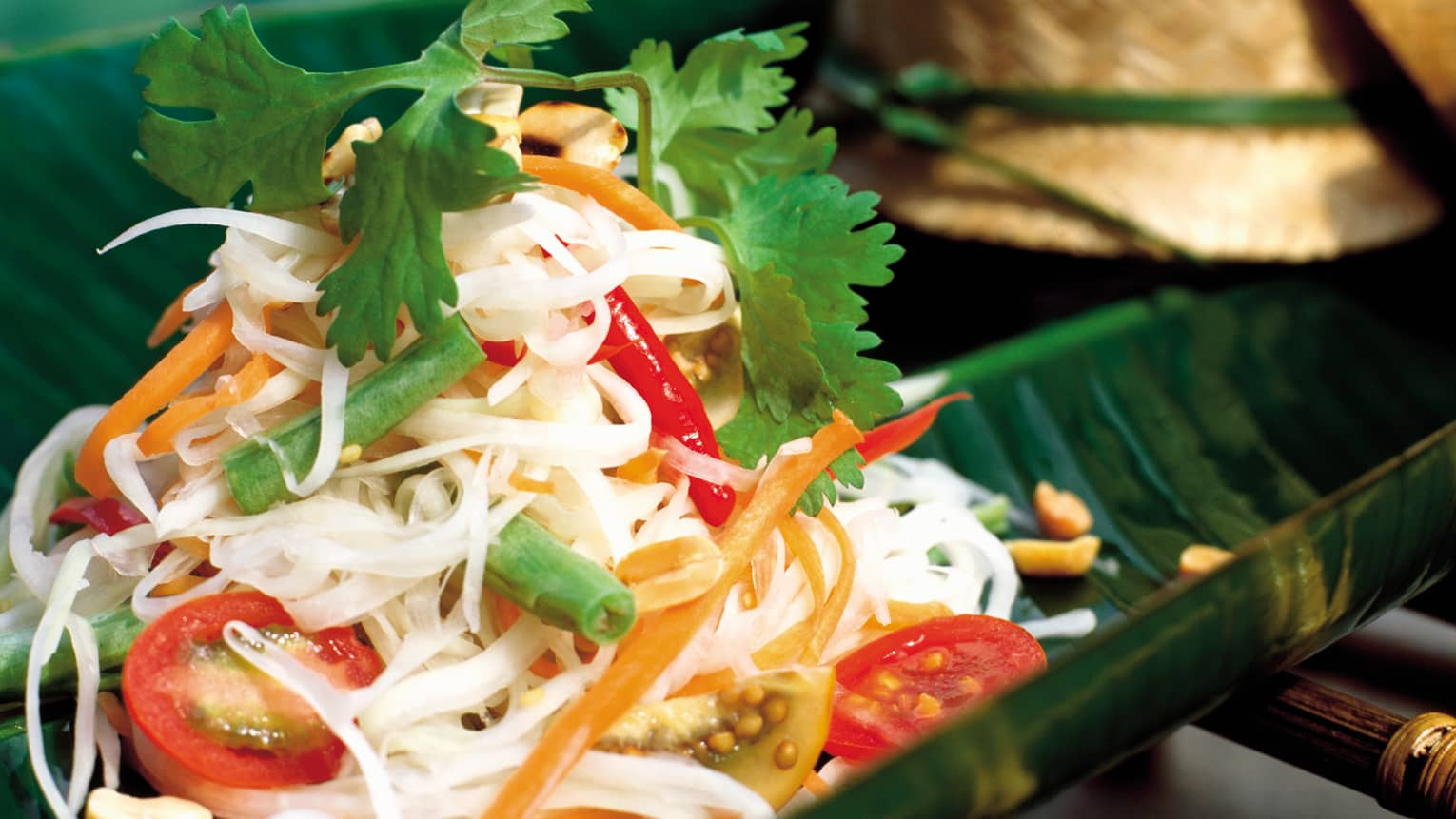 Camp Pad Siew rice noodles mixed with vegetables, fresh coriander leaves