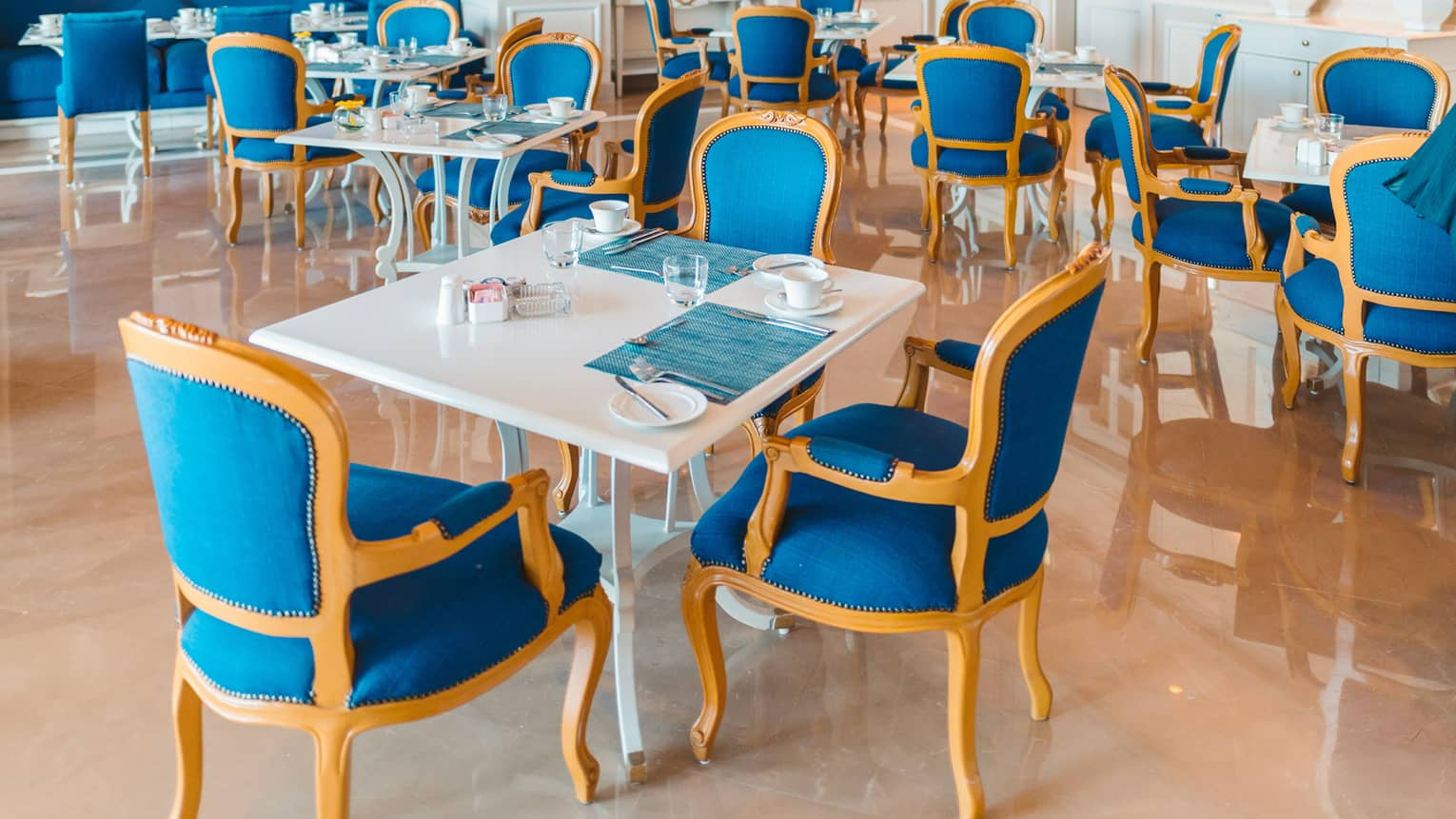 An empty dining room with bright blue chairs at four seasons hotel alexandria