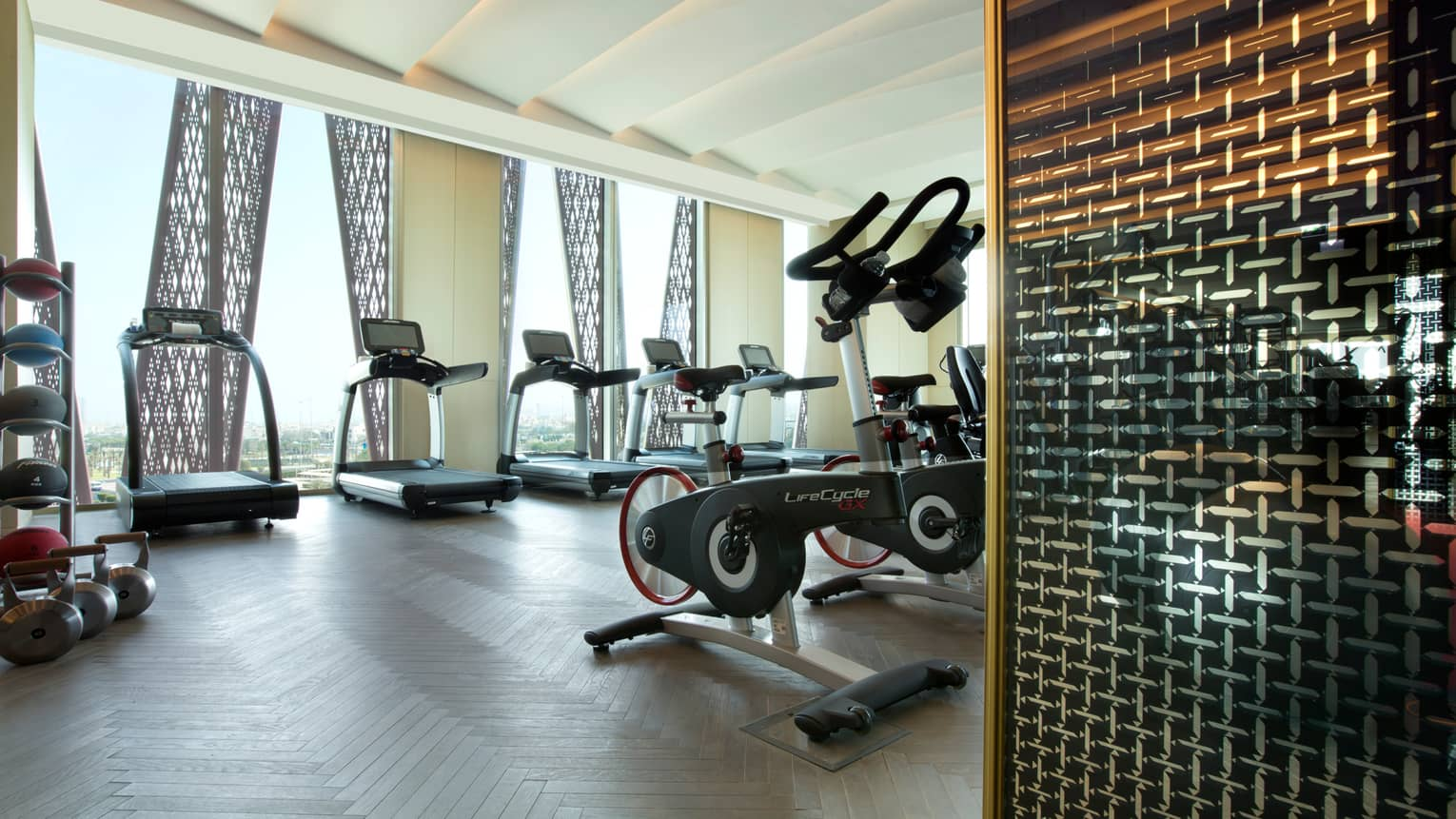 Row of treadmills in front of sunny window in fitness centre, cardio bikes