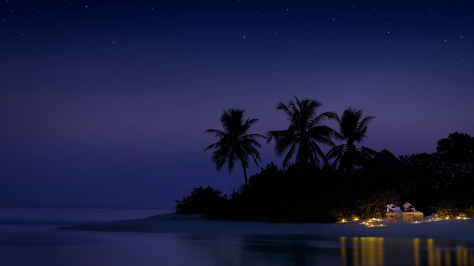 Night view of spa rituals, two guests have massages on candlelit beach under starry sky