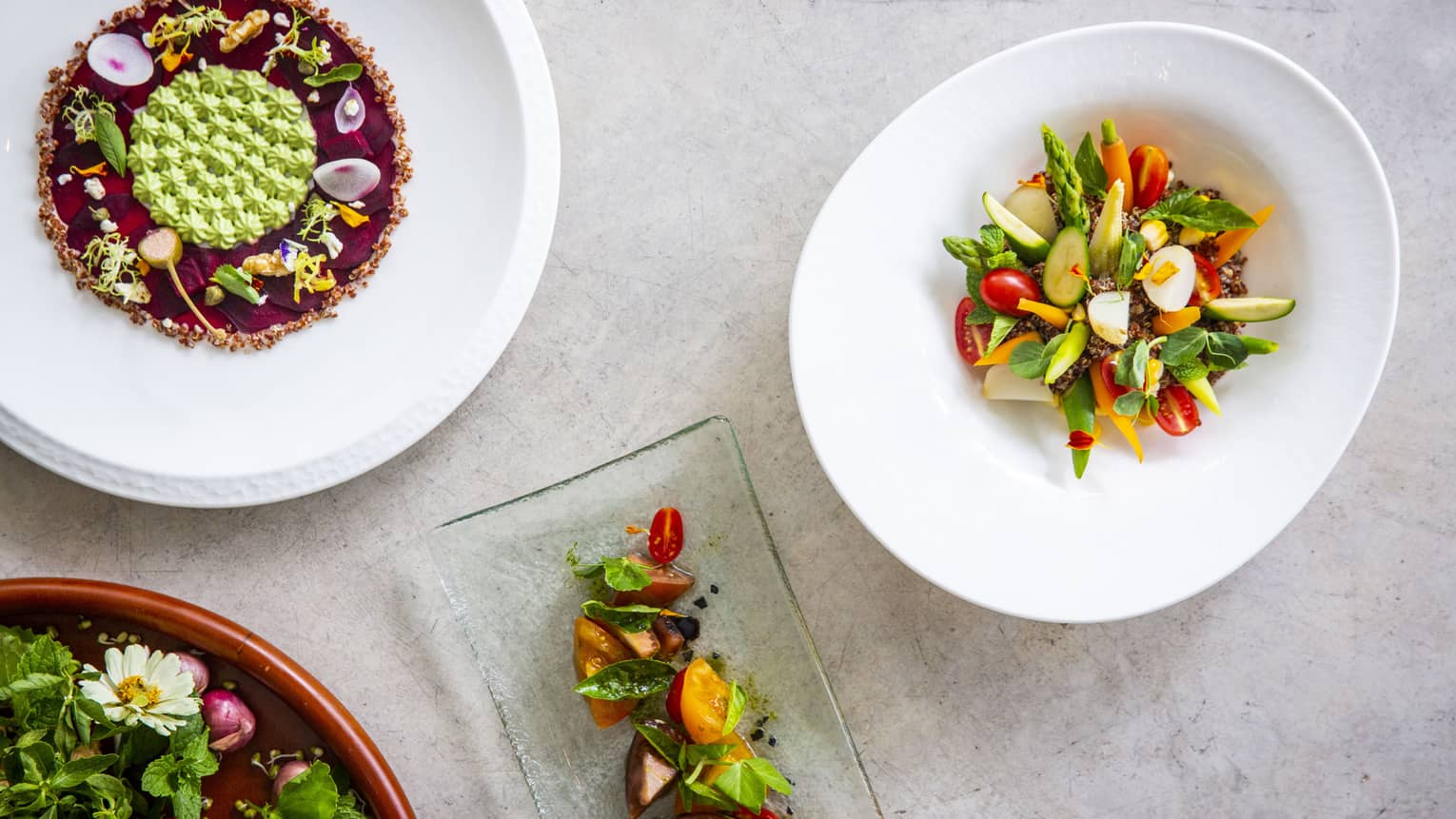 Four colourful dishes made of veggies and fruits from Cafe' Landaa
