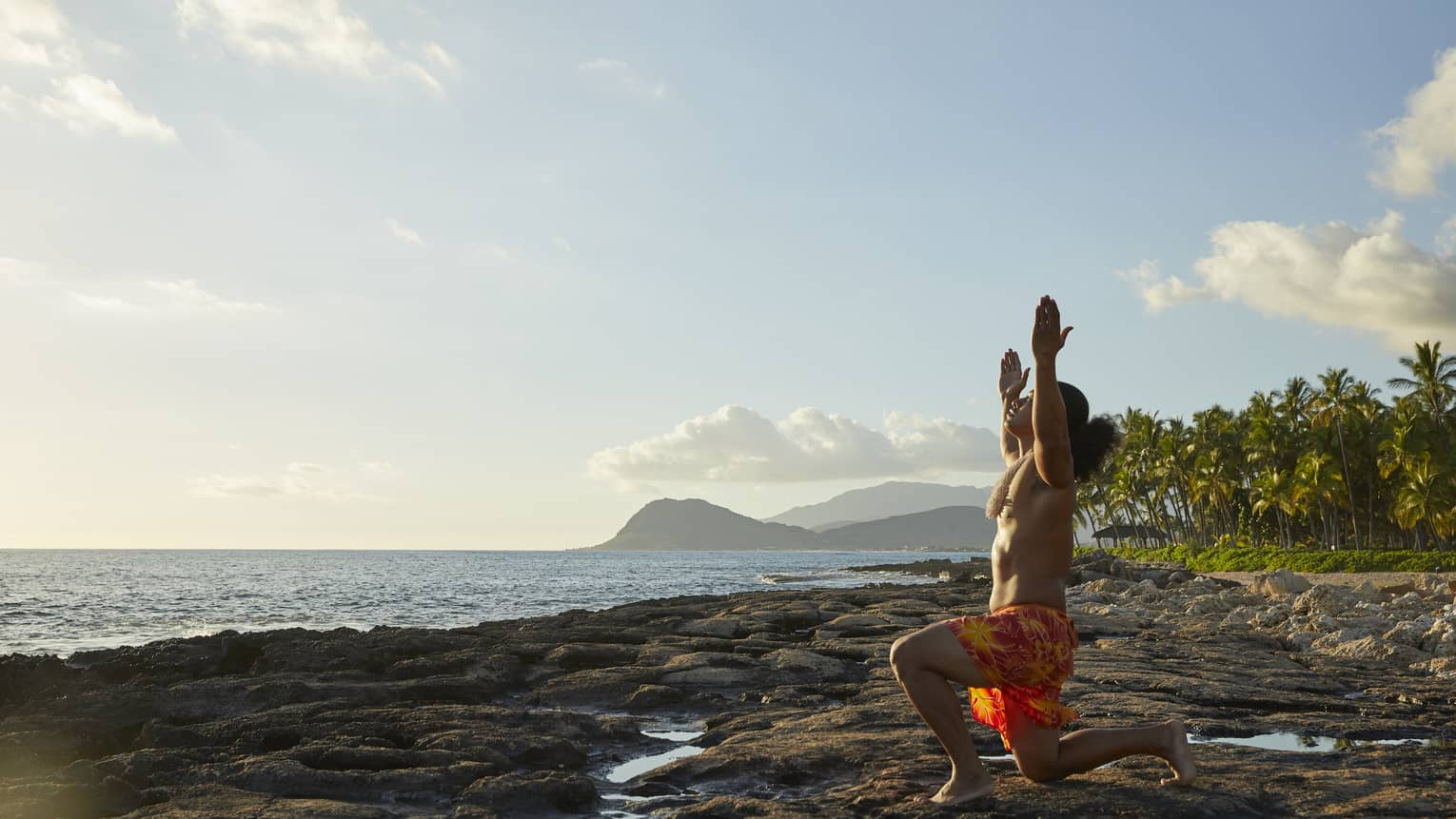 A morning routine on oceanside rocks in Oahu