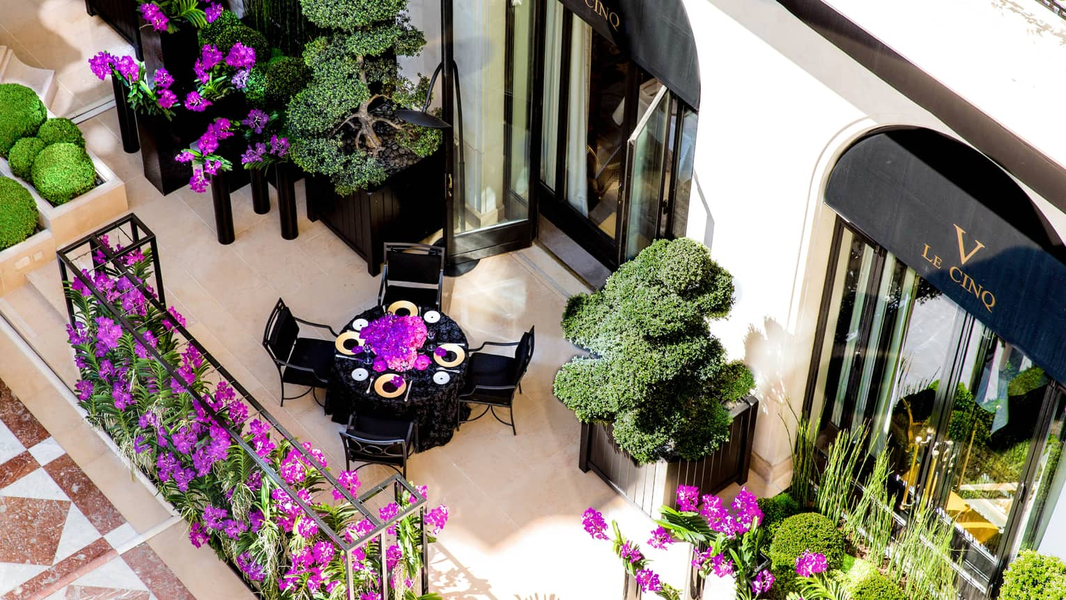 Aerial view of dining table on street-side patio, purple flowers, shrubs
